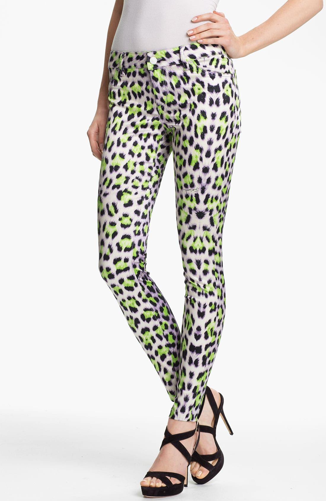 Alternate Image 1 Selected - Just Cavalli Leopard Print Skinny Jeans