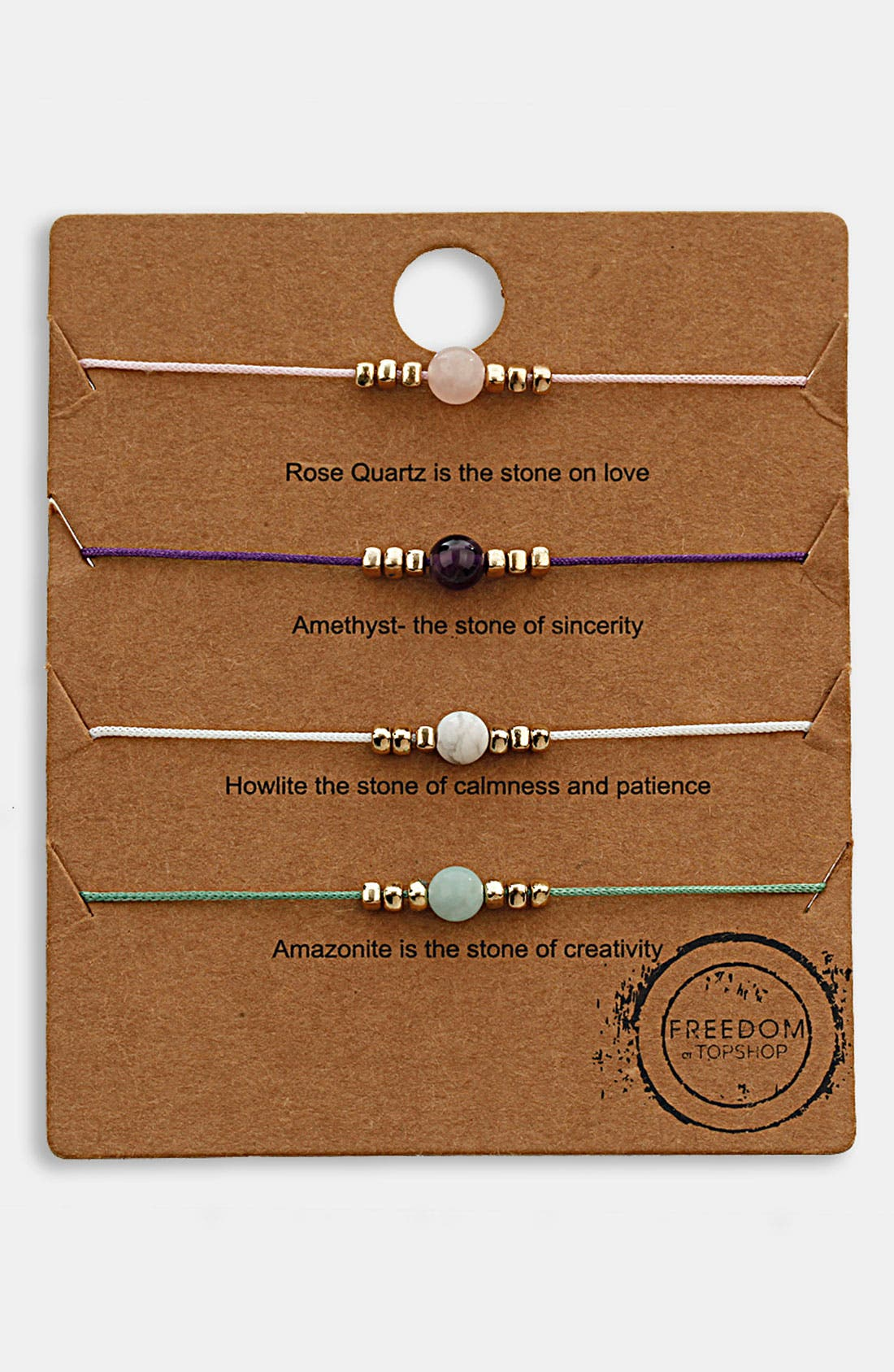 Main Image - Topshop 'Message' Friendship Bracelets (Set of 4)