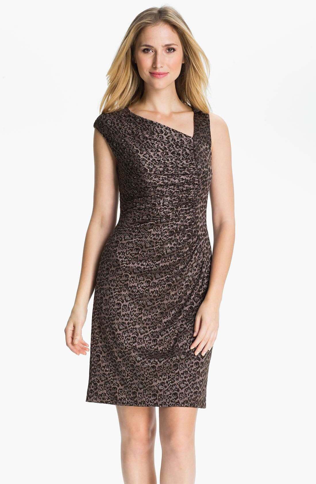 Alternate Image 1 Selected - Adrianna Papell Asymmetrical Neck Textured Sheath Dress