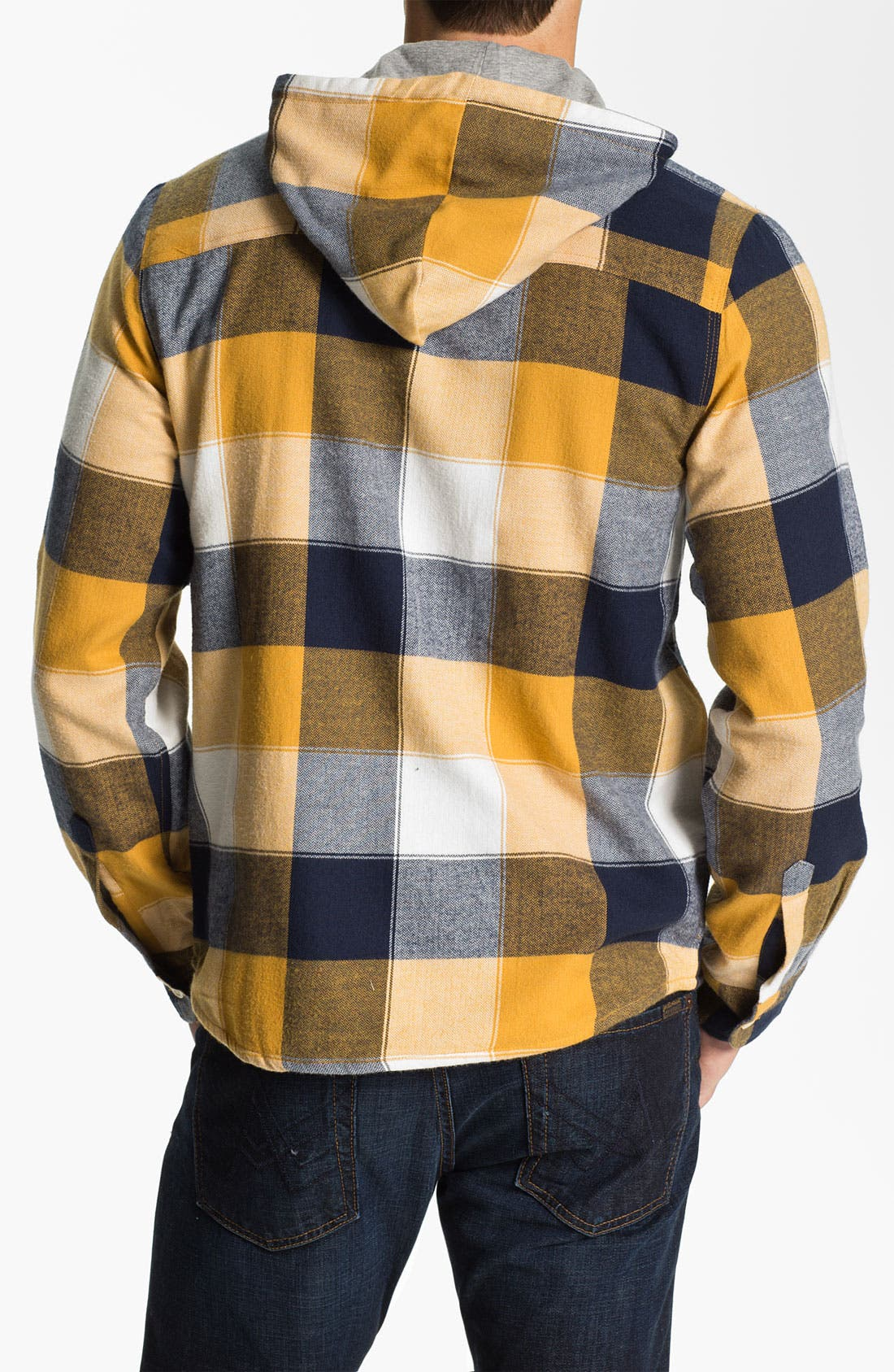 Alternate Image 2  - Threads for Thought Chevron Check Flannel Shirt with Removable Hood