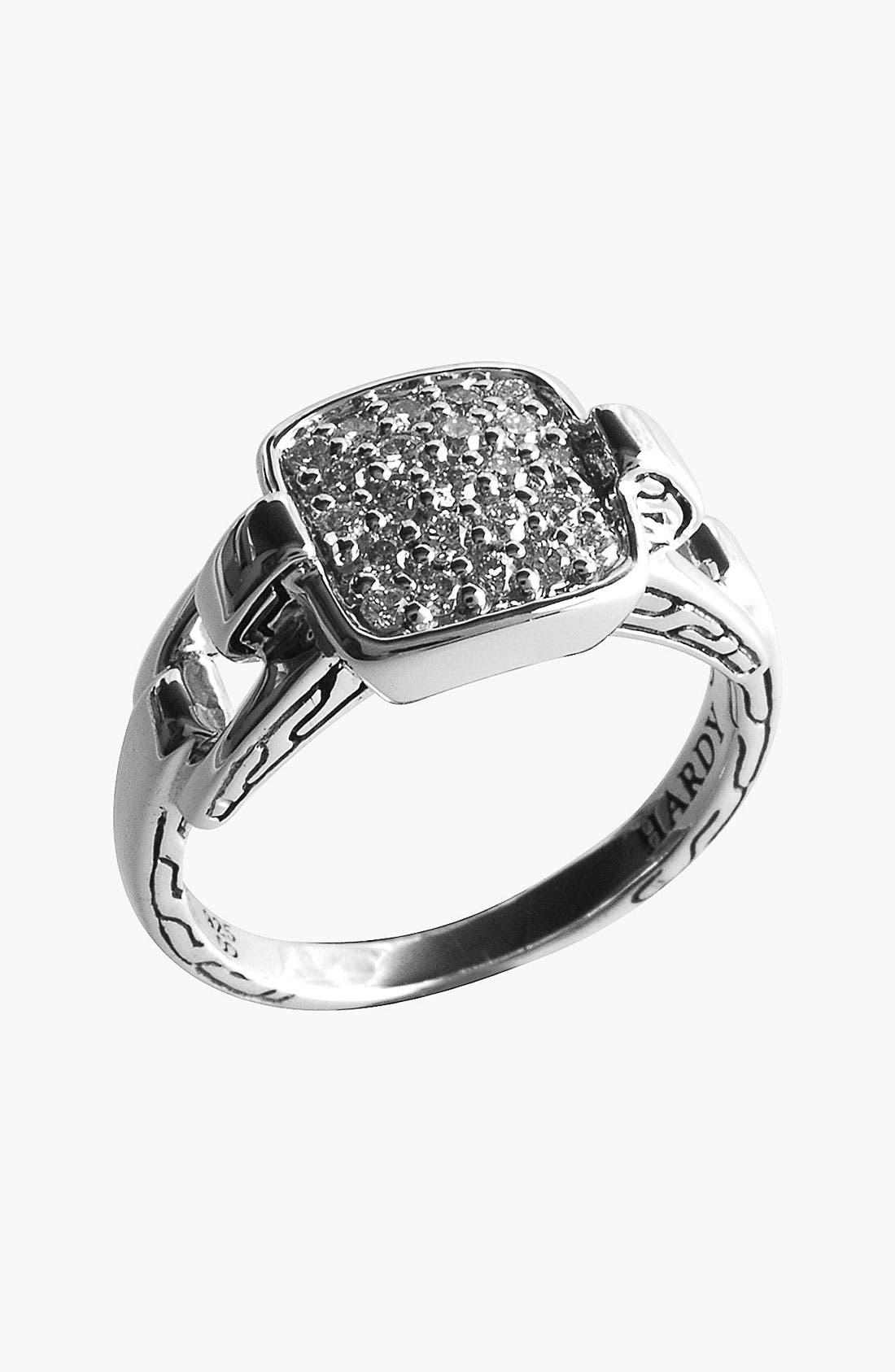 Main Image - John Hardy 'Classic Chain' Rectangular Diamond Ring