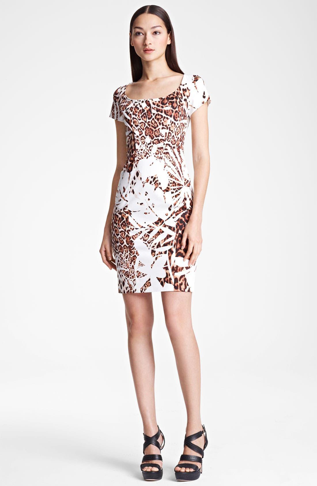 Main Image - Blumarine Animal Print Stretch Cotton Dress
