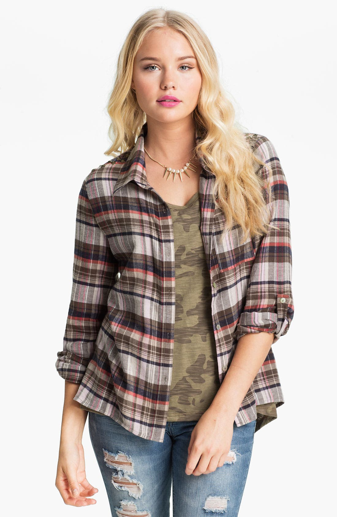 Alternate Image 1 Selected - Living Doll Plaid Flannel Shirt (Juniors)