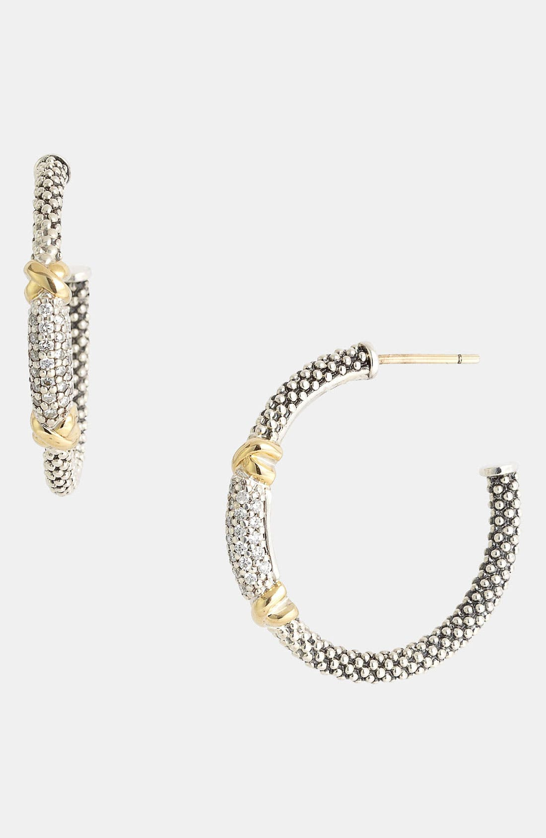 Alternate Image 1 Selected - Lagos 'X' Large Diamond & Caviar™ Hoop Earrings