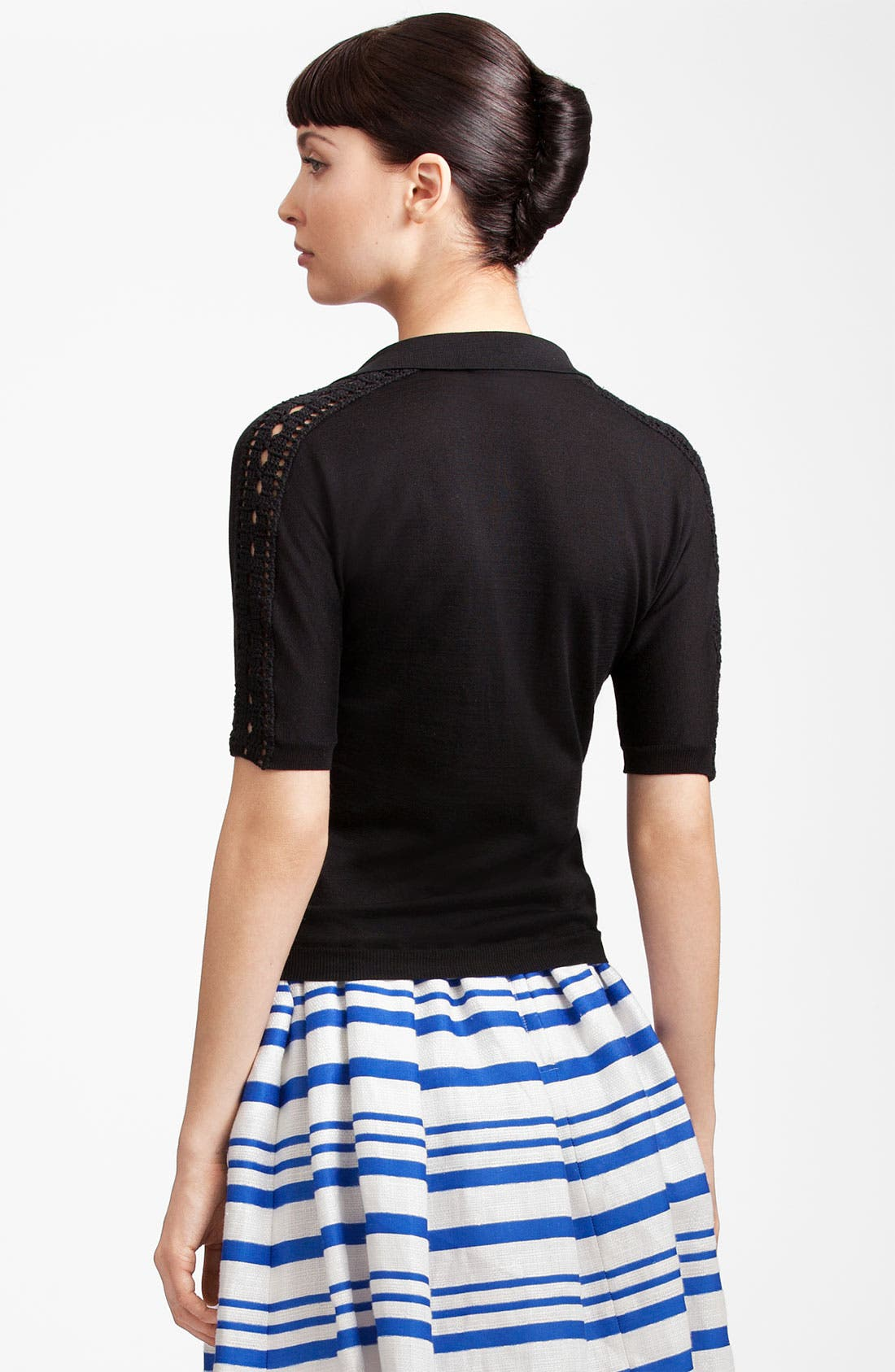Alternate Image 2  - Dolce&Gabbana Crochet Trim Silk Knit Polo