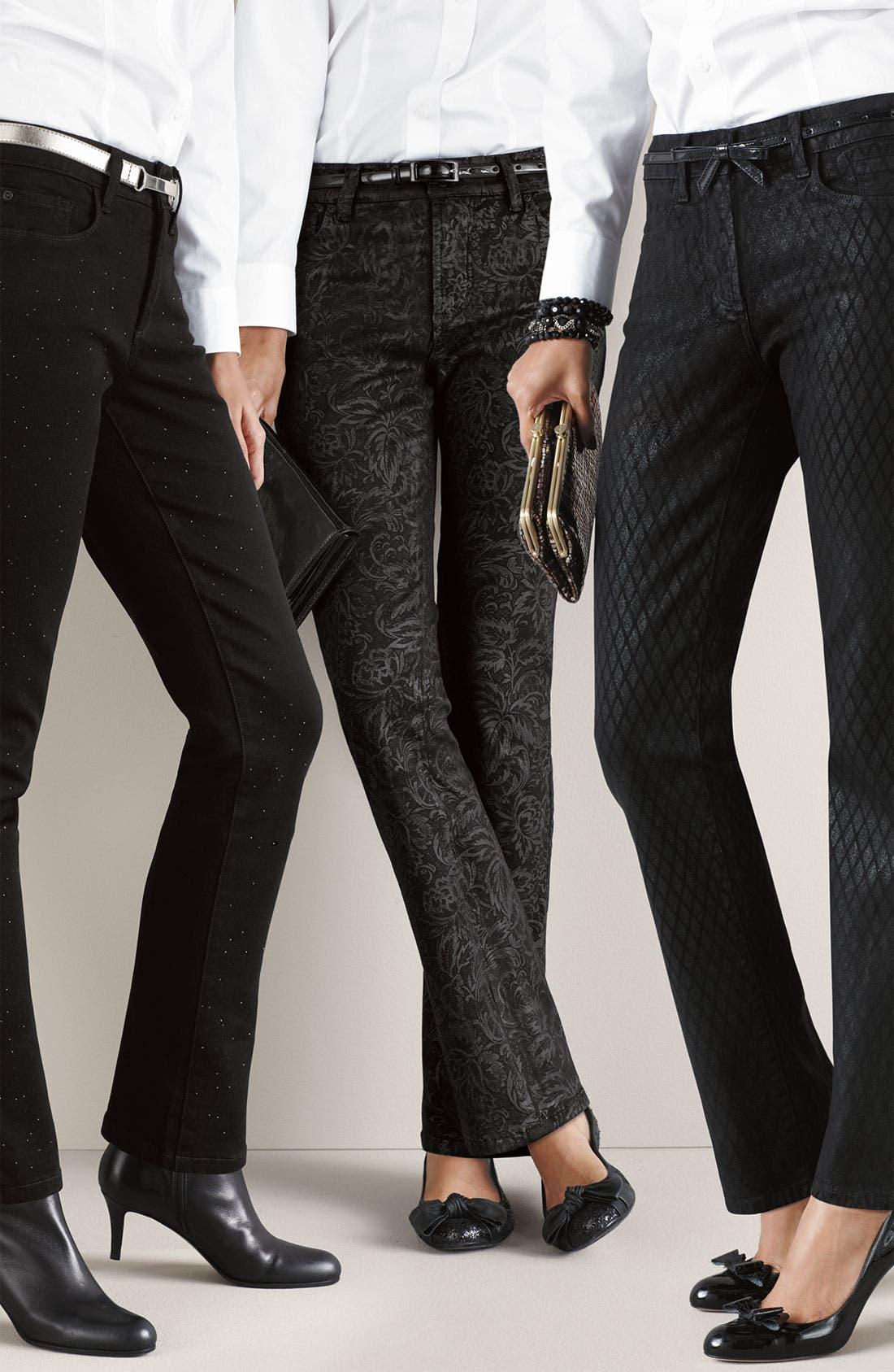 Alternate Image 4  - NYDJ 'Sheri' Geometric Glitter Coated Skinny Stretch Jeans