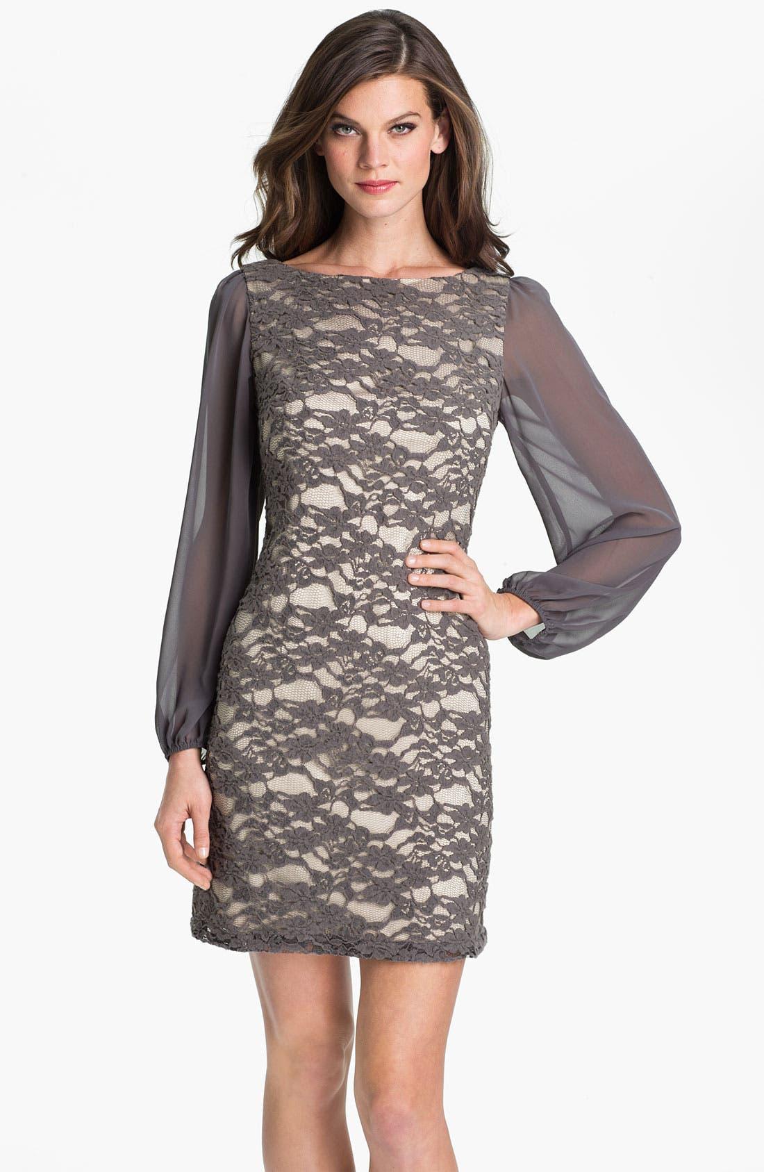 Alternate Image 1 Selected - Eliza J Bell Sleeve Lace Overlay Sheath Dress