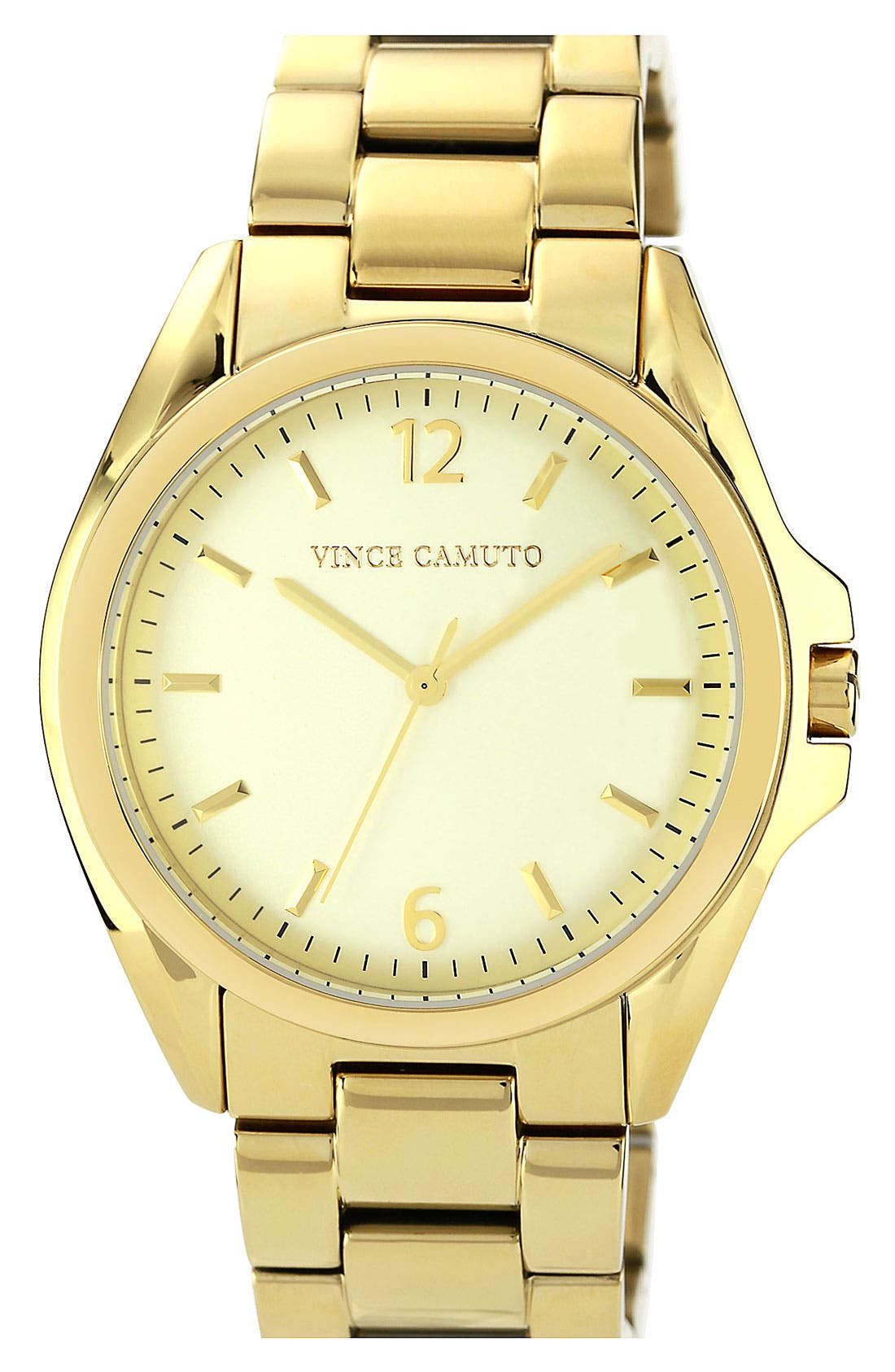 Main Image - Vince Camuto Curved Crystal Bracelet Watch, 42mm
