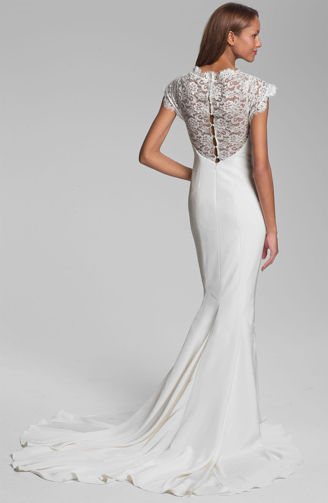 Alternate Image 2  - Nicole Miller 'Lauren' Lace Yoke Satin & Charmeuse Mermaid Gown
