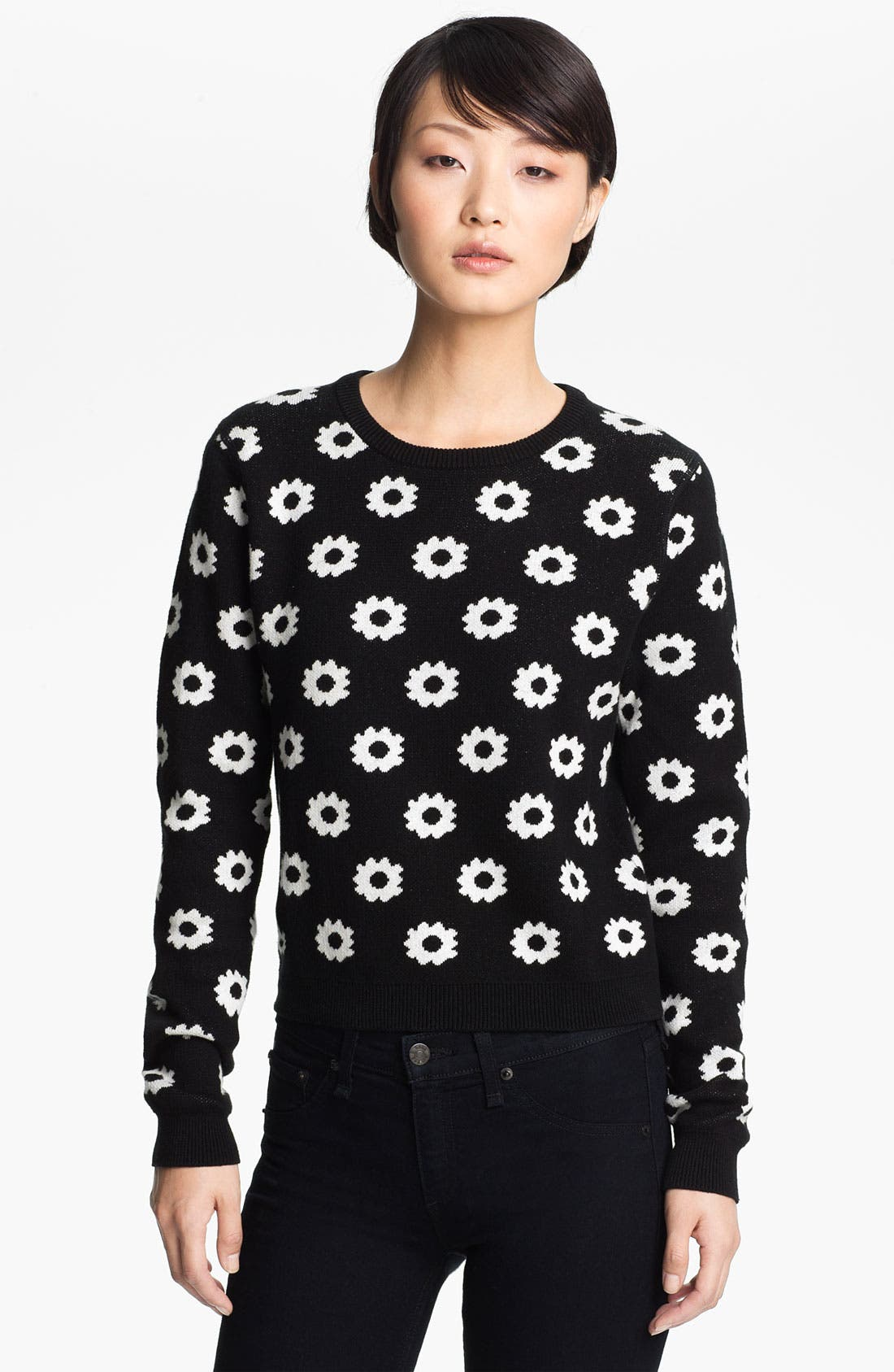 Alternate Image 1 Selected - Opening Ceremony Reversible Floral Jacquard Sweater