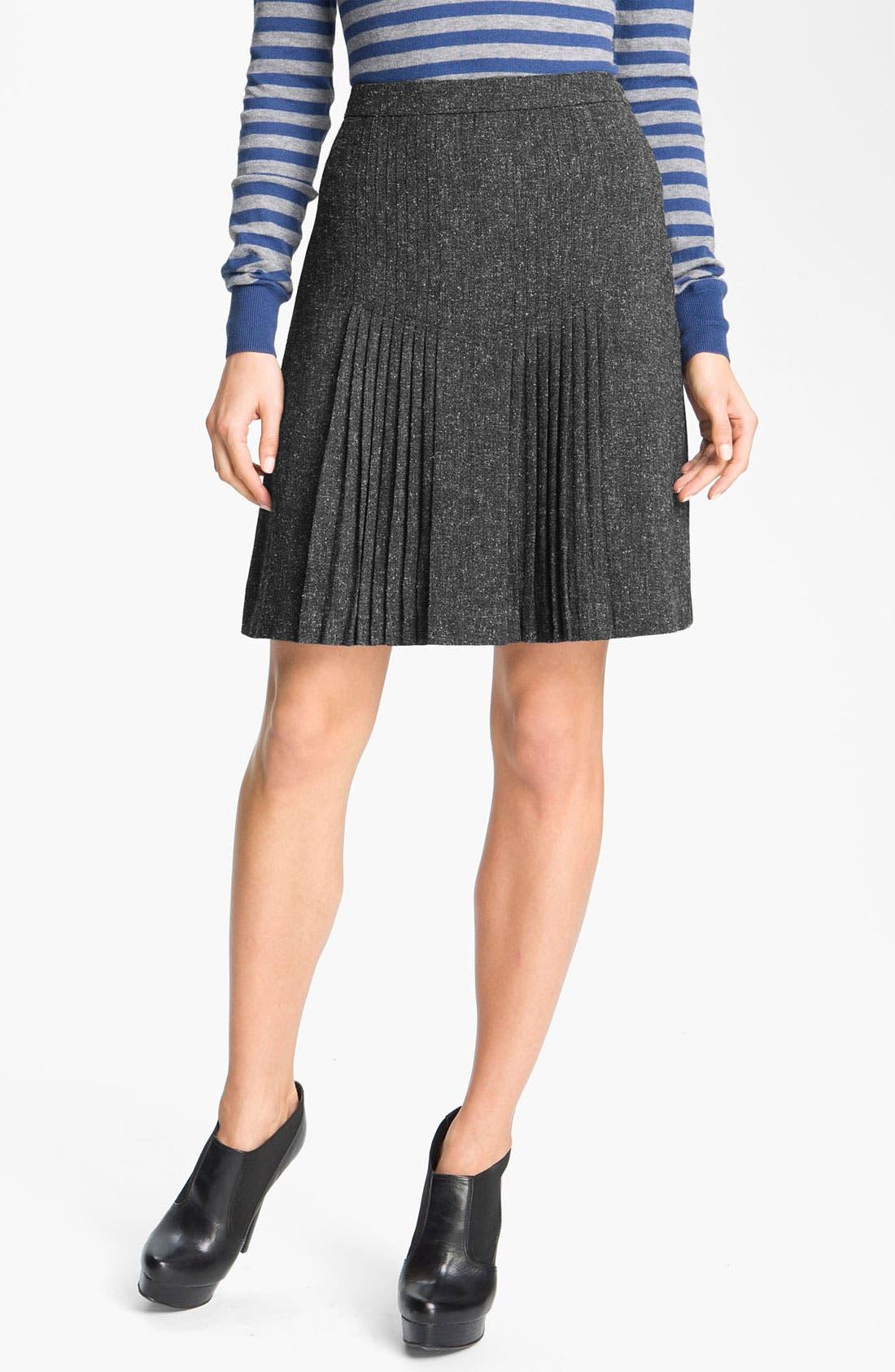 Alternate Image 1 Selected - Halogen® Pleat Front Tweed Skirt