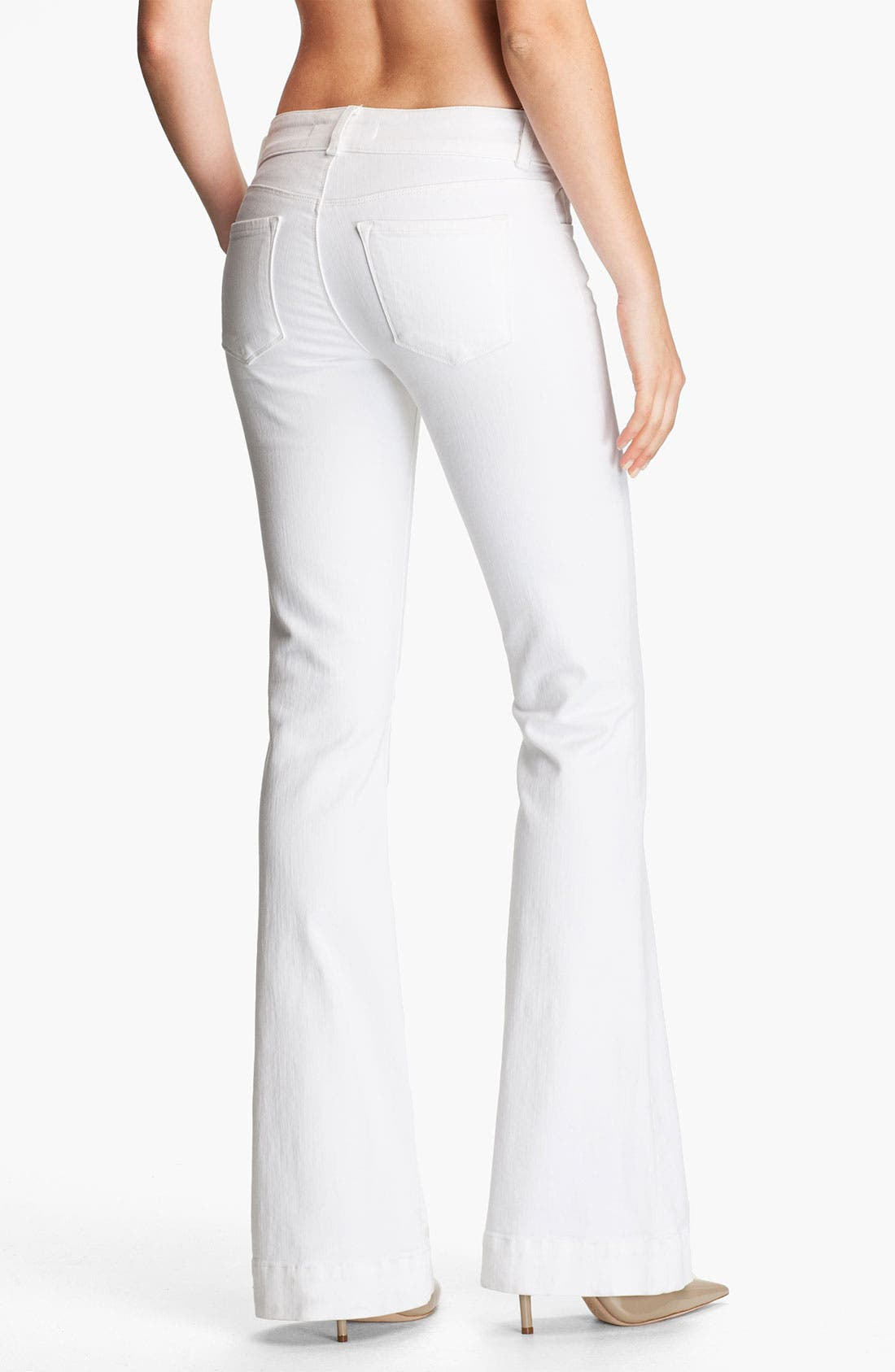 Alternate Image 2  - J Brand Low Rise Bell Bottom Stretch Jeans (Blanc)