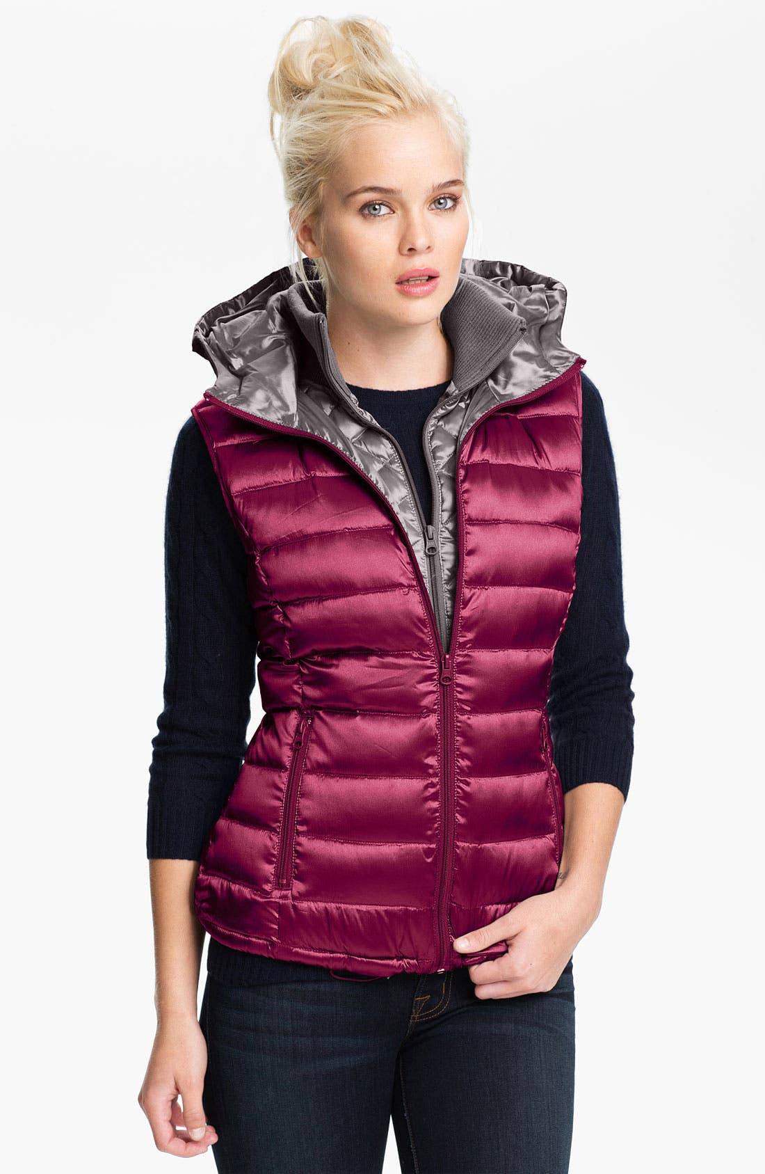 Main Image - Bernardo Hooded Iridescent Down Vest