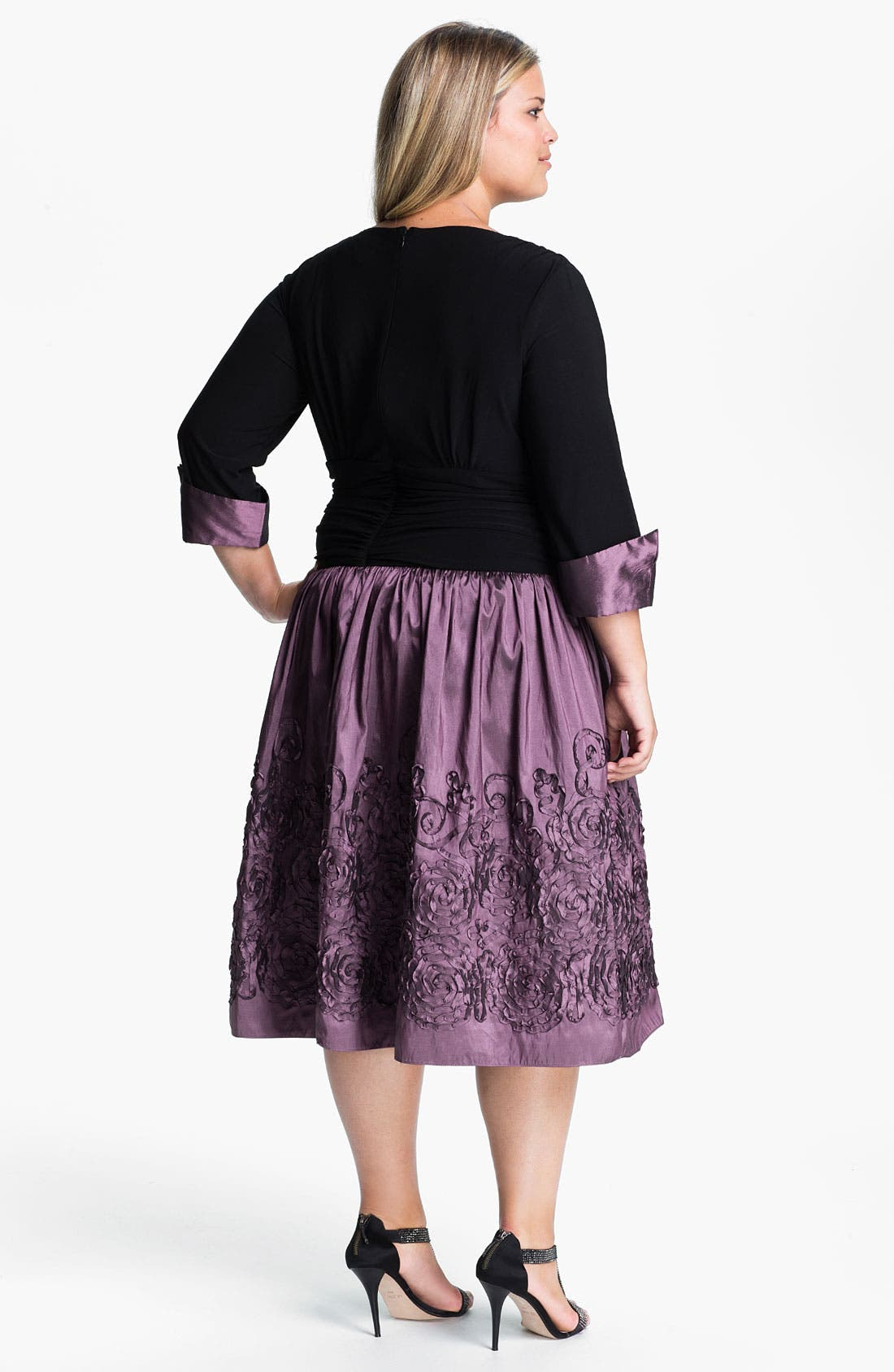 Alternate Image 2  - Eliza J Mock Two Piece Surplice Dress (Plus)