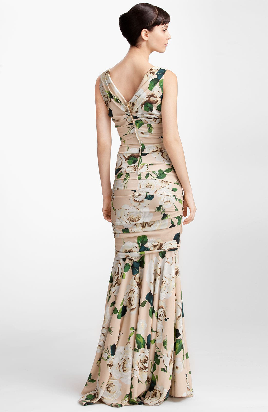 Alternate Image 2  - Dolce&Gabbana Rose Print Ruched Stretch Cady Gown