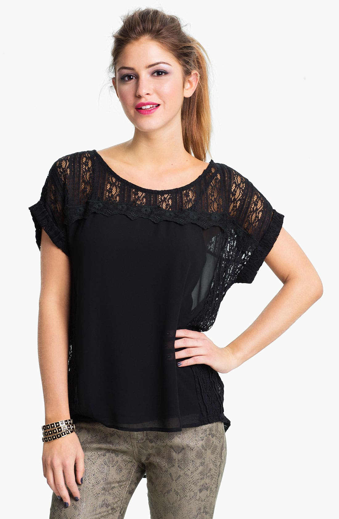 Main Image - Lush Lace & Chiffon Top (Juniors)
