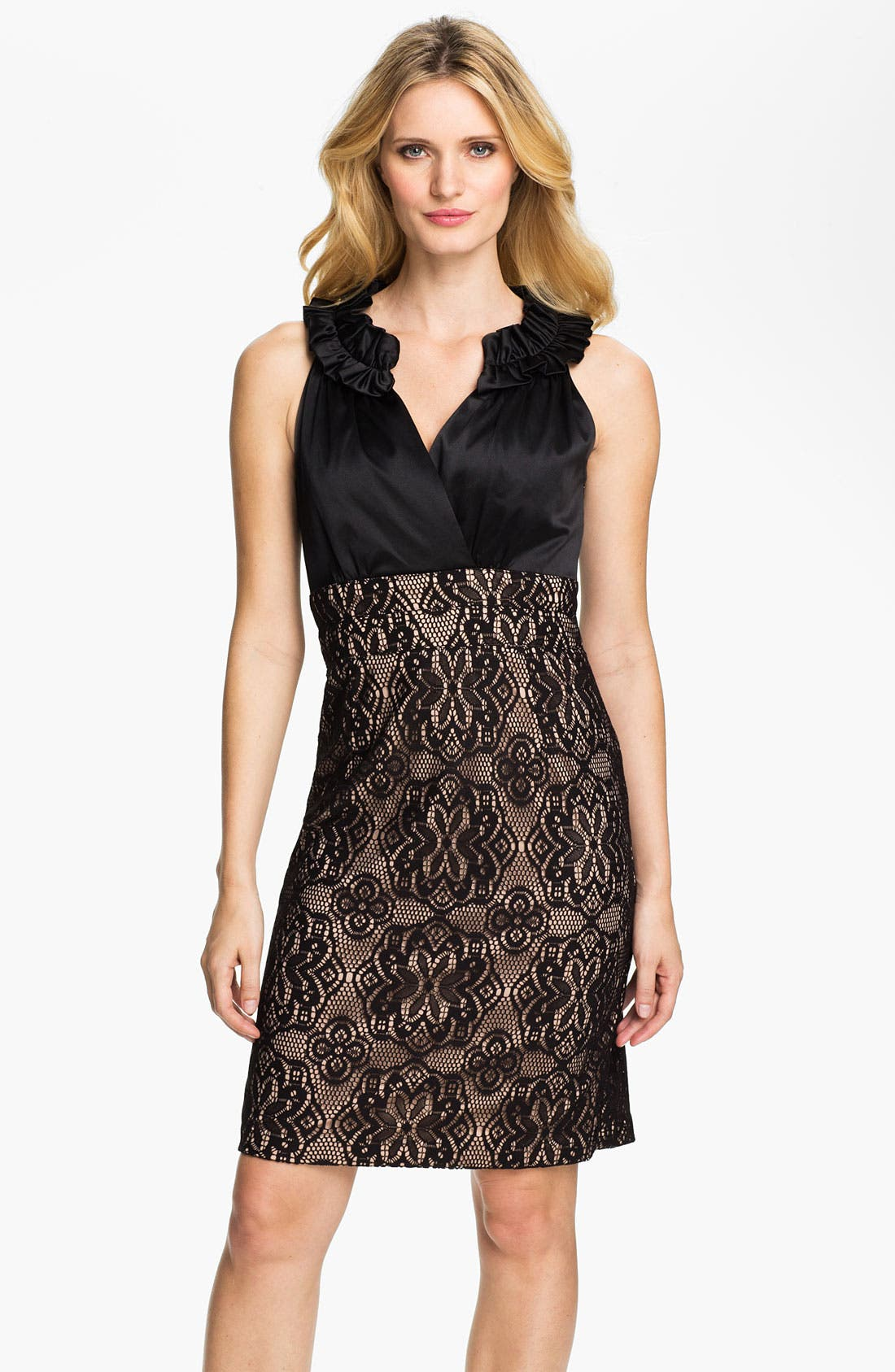 Main Image - Donna Ricco Ruffle Neck Mixed Media Sheath Dress