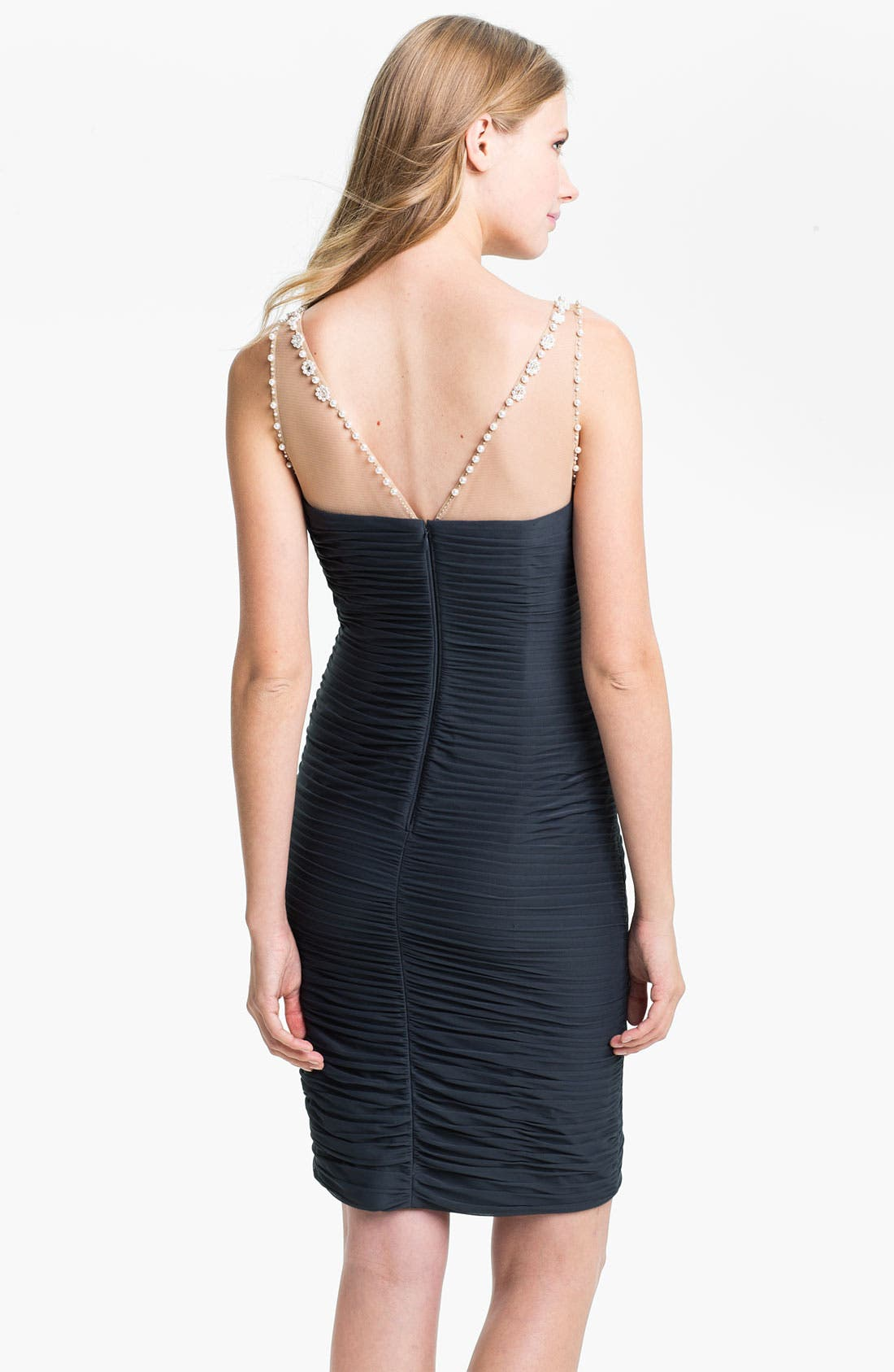 Alternate Image 2  - Adrianna Papell Illusion Bodice Jersey Sheath Dress