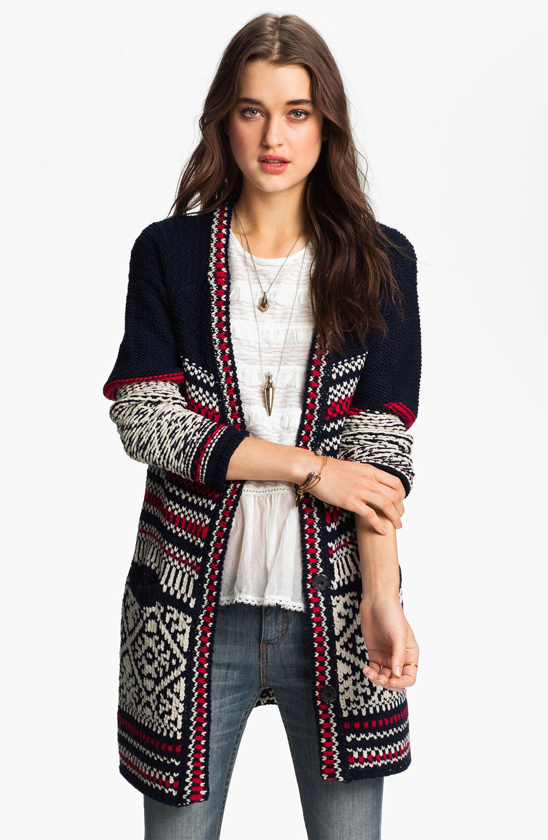Main Image - Free People 'Annabelle' Nordic Knit Cardigan