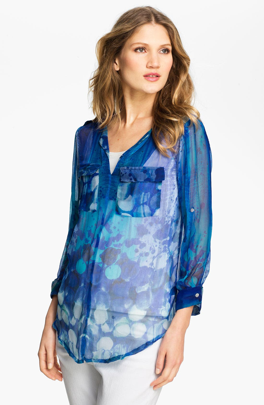 Alternate Image 1 Selected - Casual Studio Split Neck Sheer Blouse