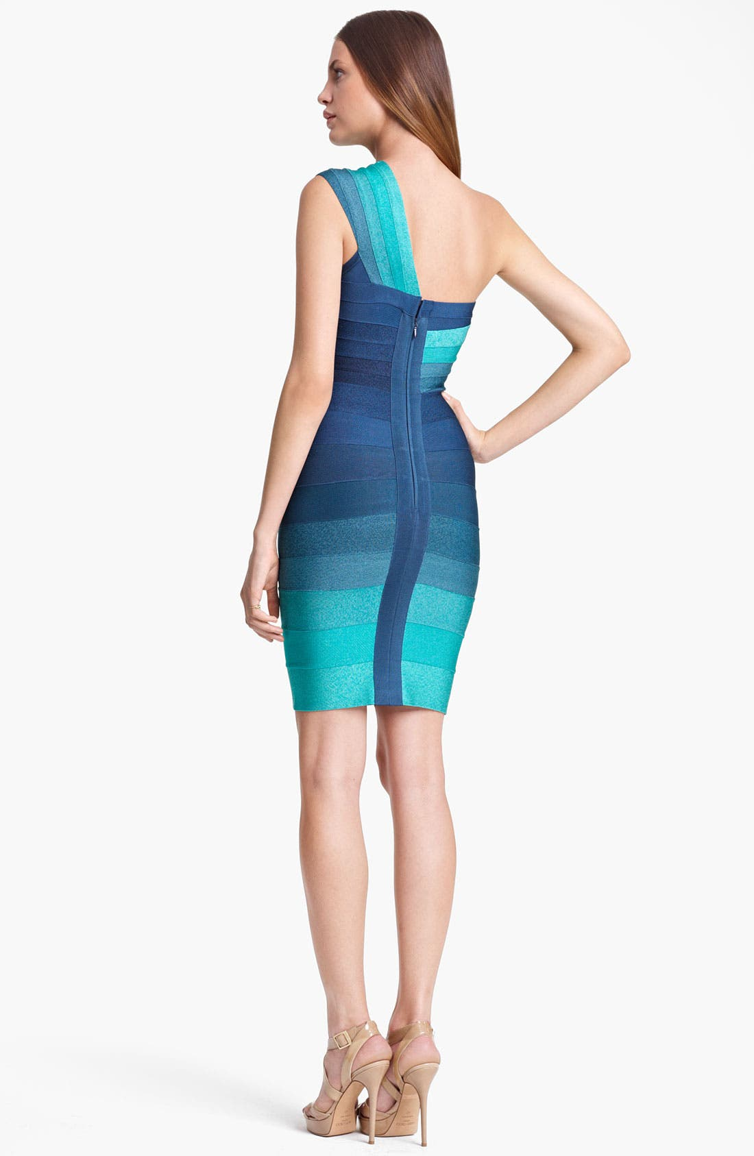 Alternate Image 2  - Herve Leger Ombré One Shoulder Dress