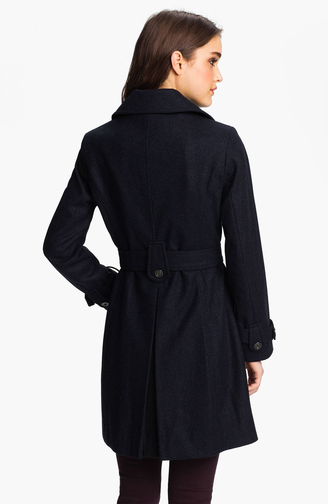 Alternate Image 2  - Laundry by Shelli Segal Double Breasted Military Coat (Petite)