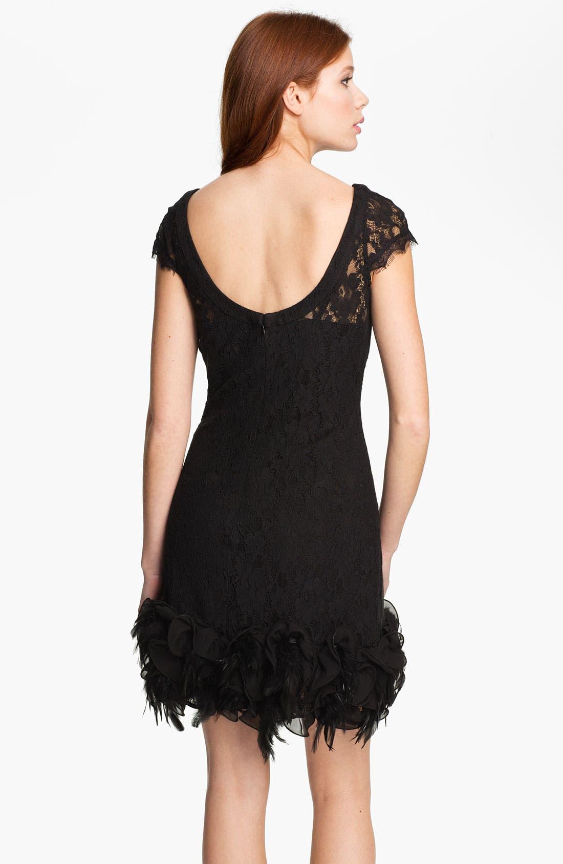 Alternate Image 2  - Jessica Simpson Feather Trim Illusion Yoke Lace Dress