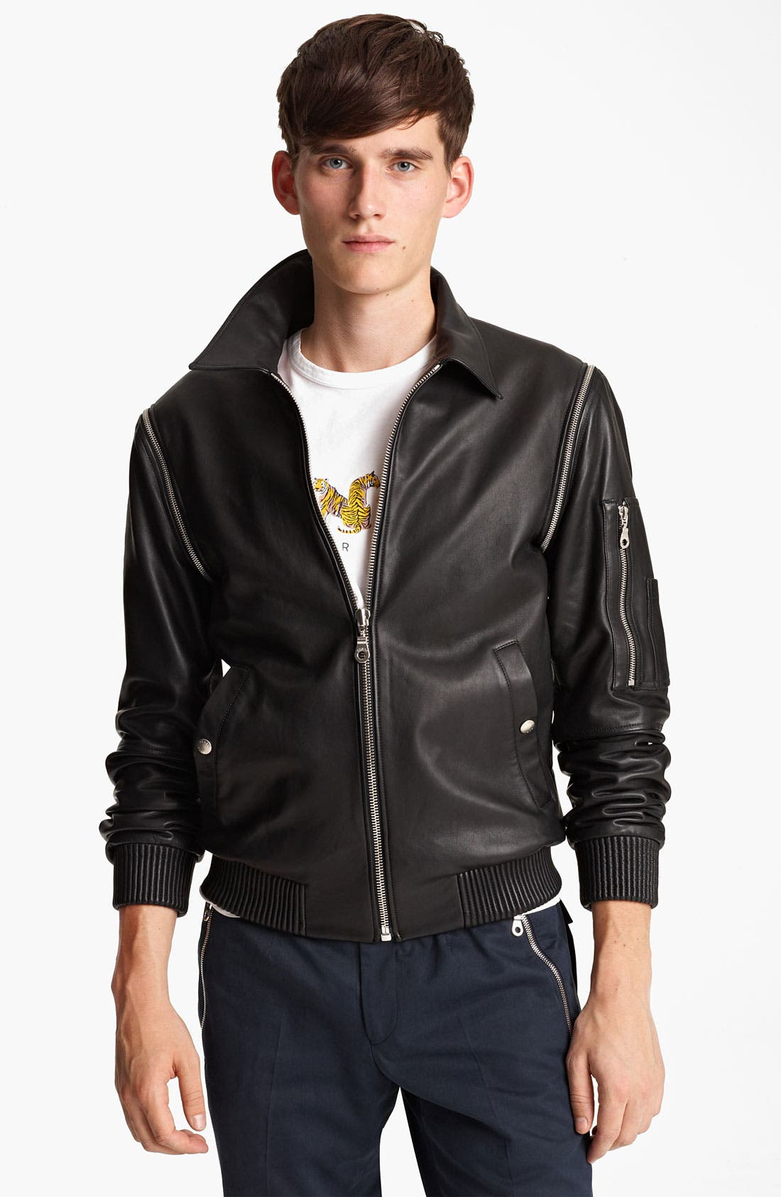 Main Image - KENZO Leather Jacket with Removable Sleeves