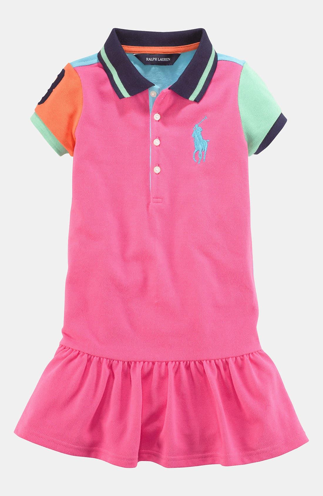 Main Image - Ralph Lauren Colorblock Polo Dress (Toddler)