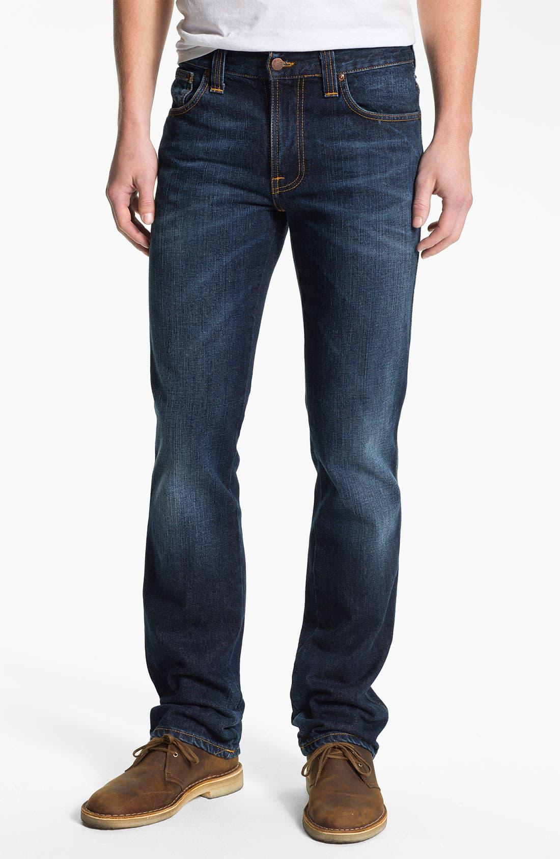 Alternate Image 2  - Nudie 'Slim Jim' Slim Straight Leg Jeans (Organic Blue Note)