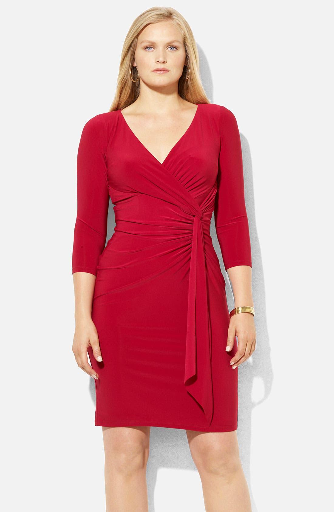 Main Image - Lauren Ralph Lauren Surplice Jersey Sheath Dress (Plus)