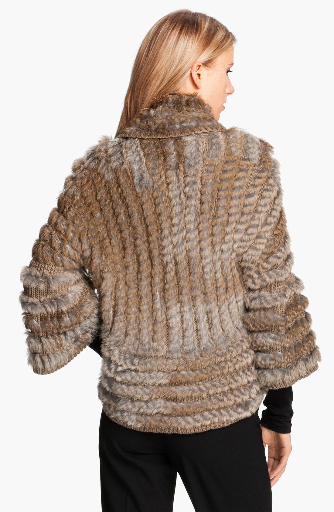 Alternate Image 2  - Alberto Makali Knit & Genuine Rabbit Fur Shrug