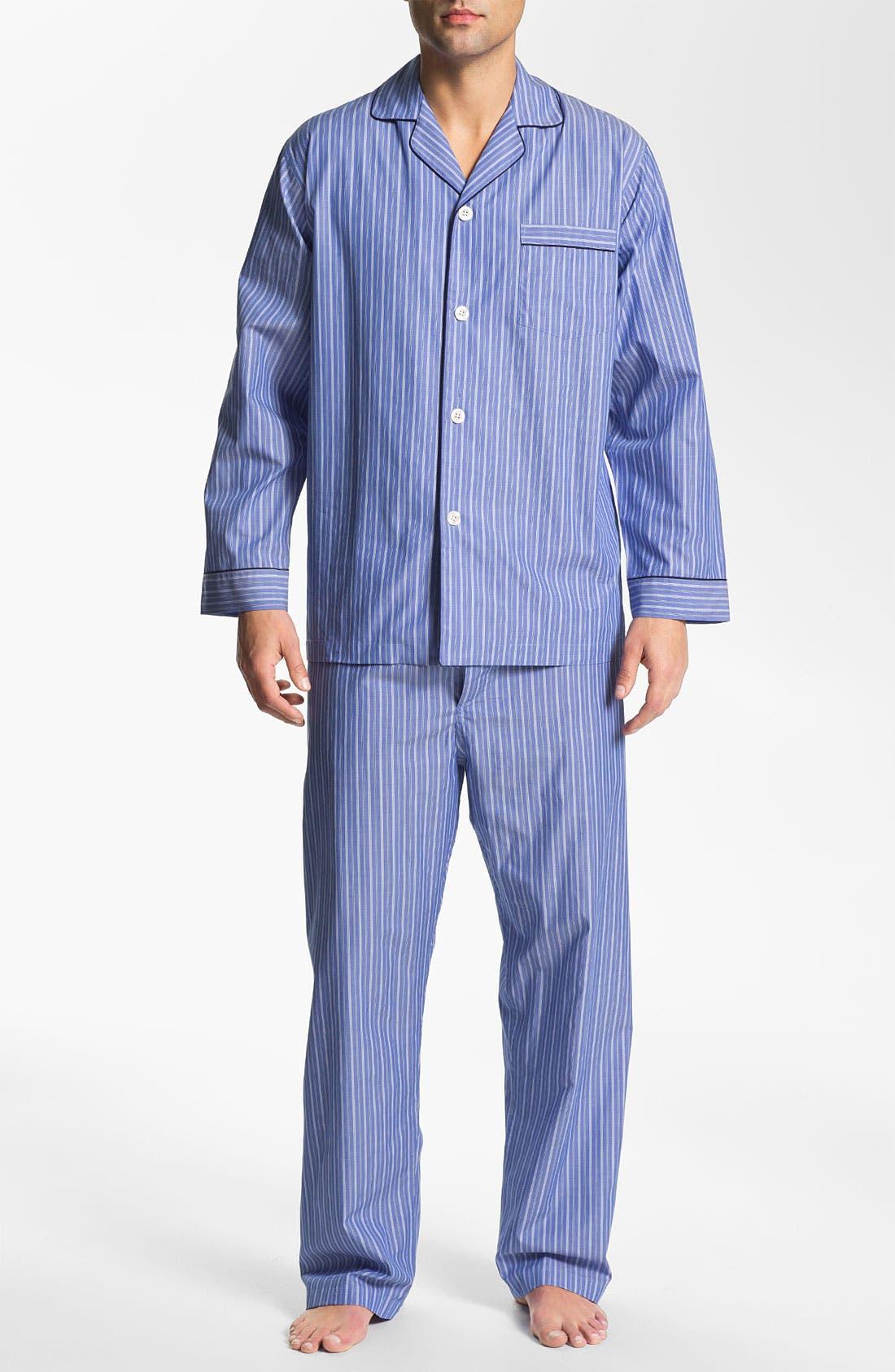 Main Image - Brooks Brothers 'Ground Stripe' Pajamas