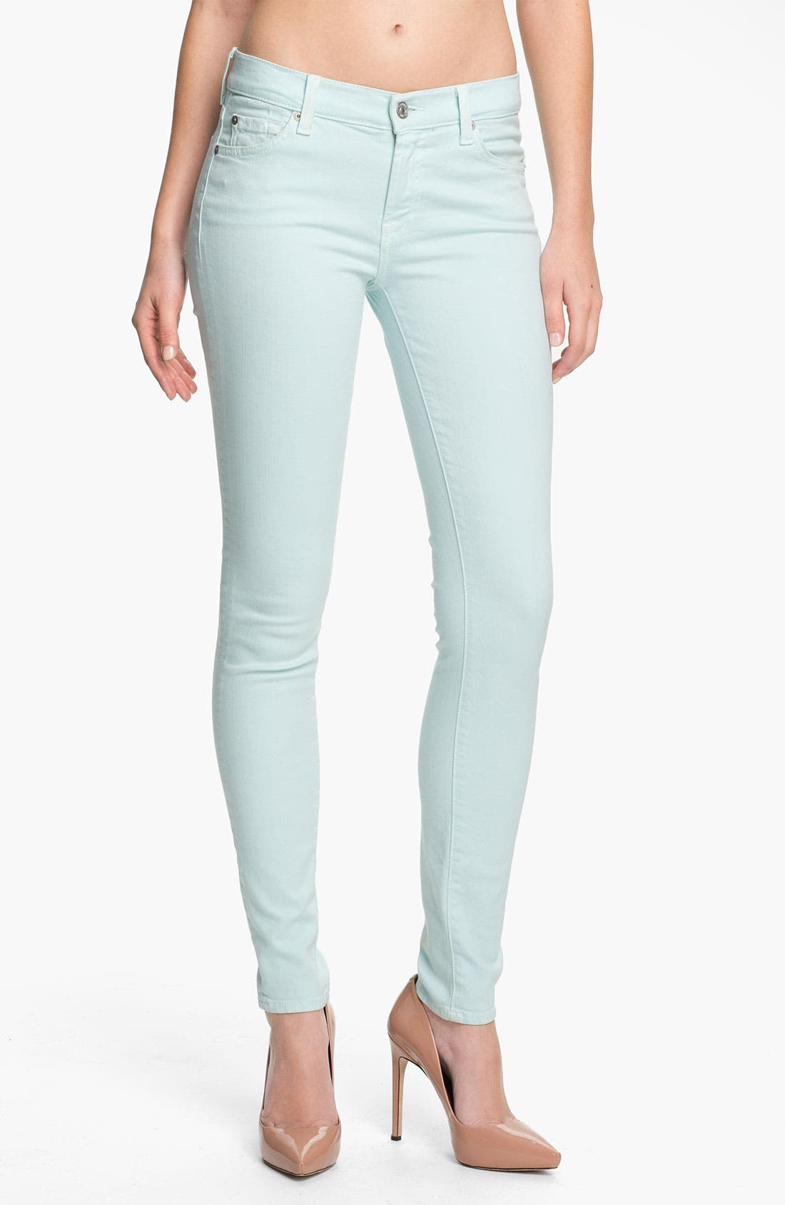 Main Image - 7 For All Mankind® 'Slim Illusion' Overdyed Skinny Stretch Jeans (Sea Glass)