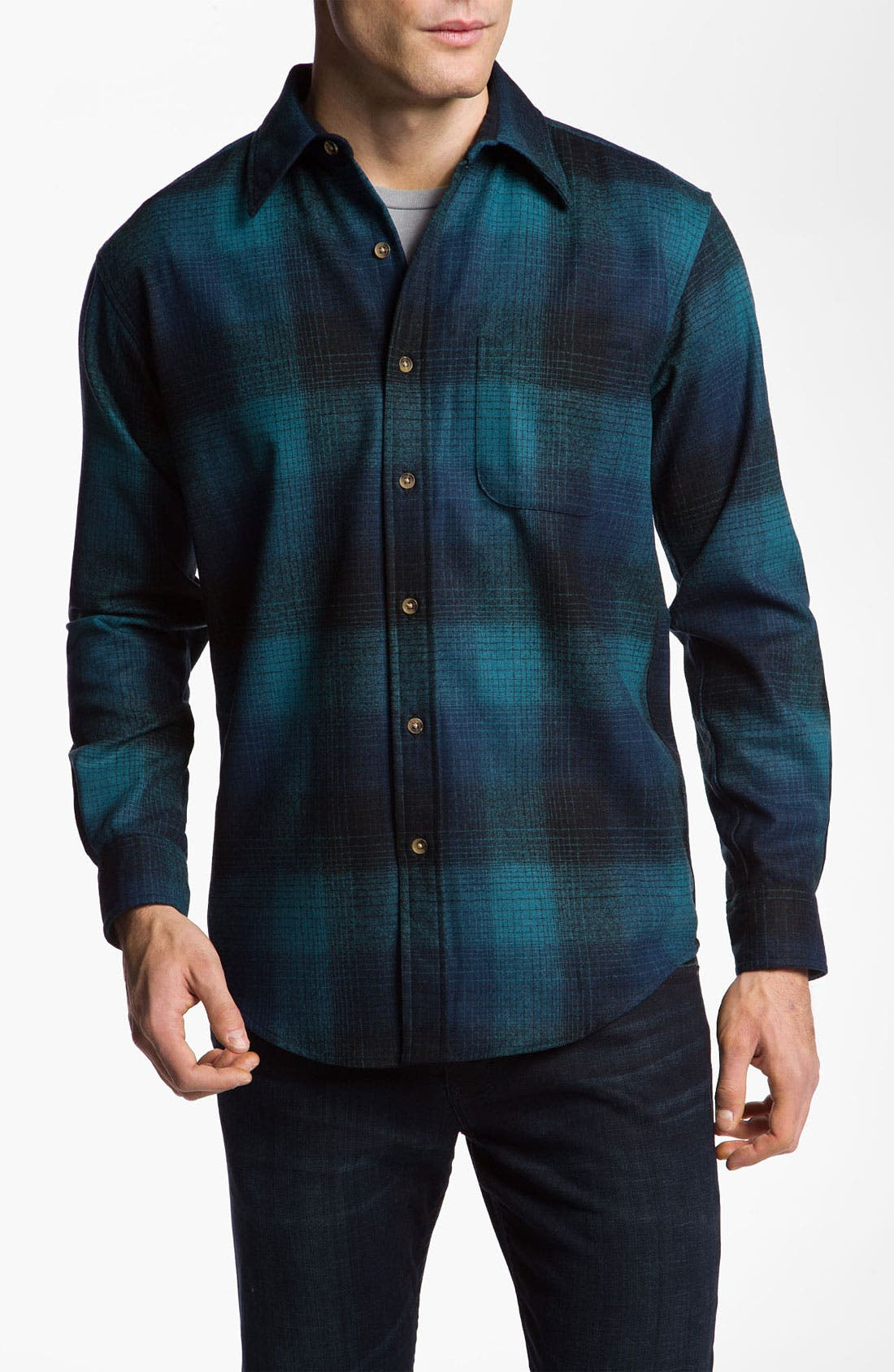 Virgin Wool Woven Shirt,                         Main,                         color, Blue/ Black