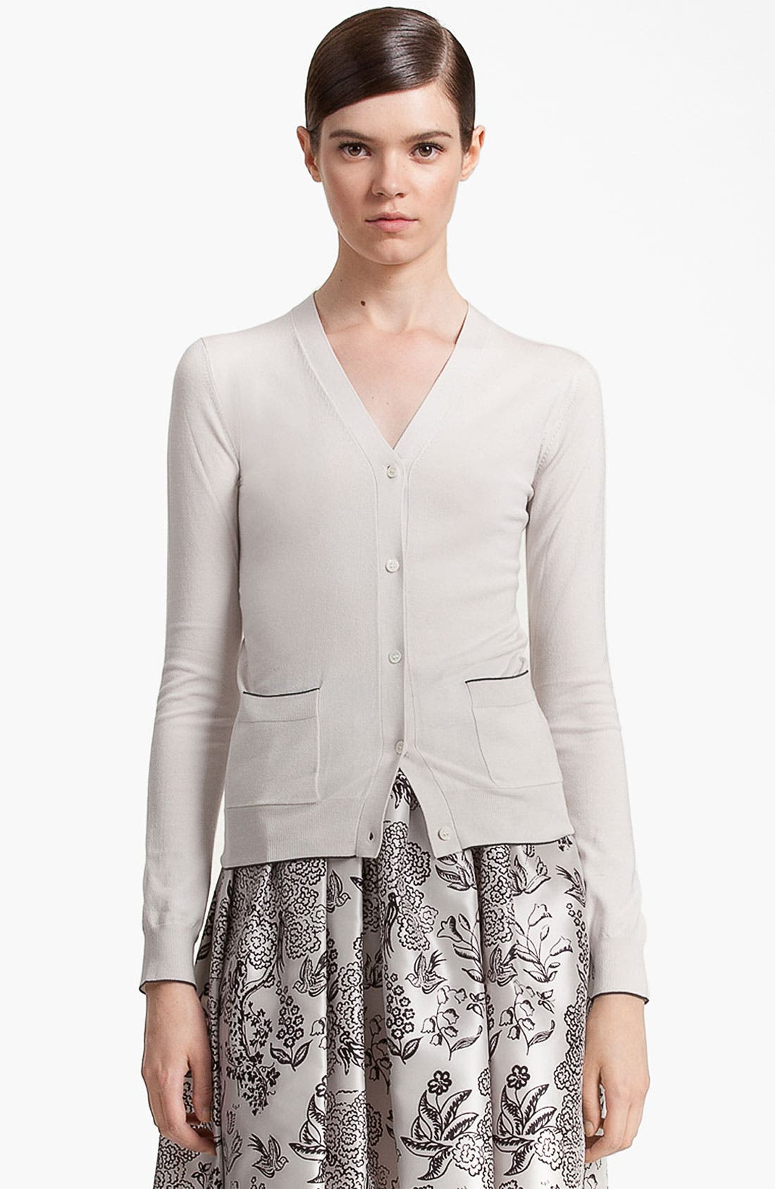 Alternate Image 1 Selected - Jil Sander Navy Piped Stretch Knit Cardigan