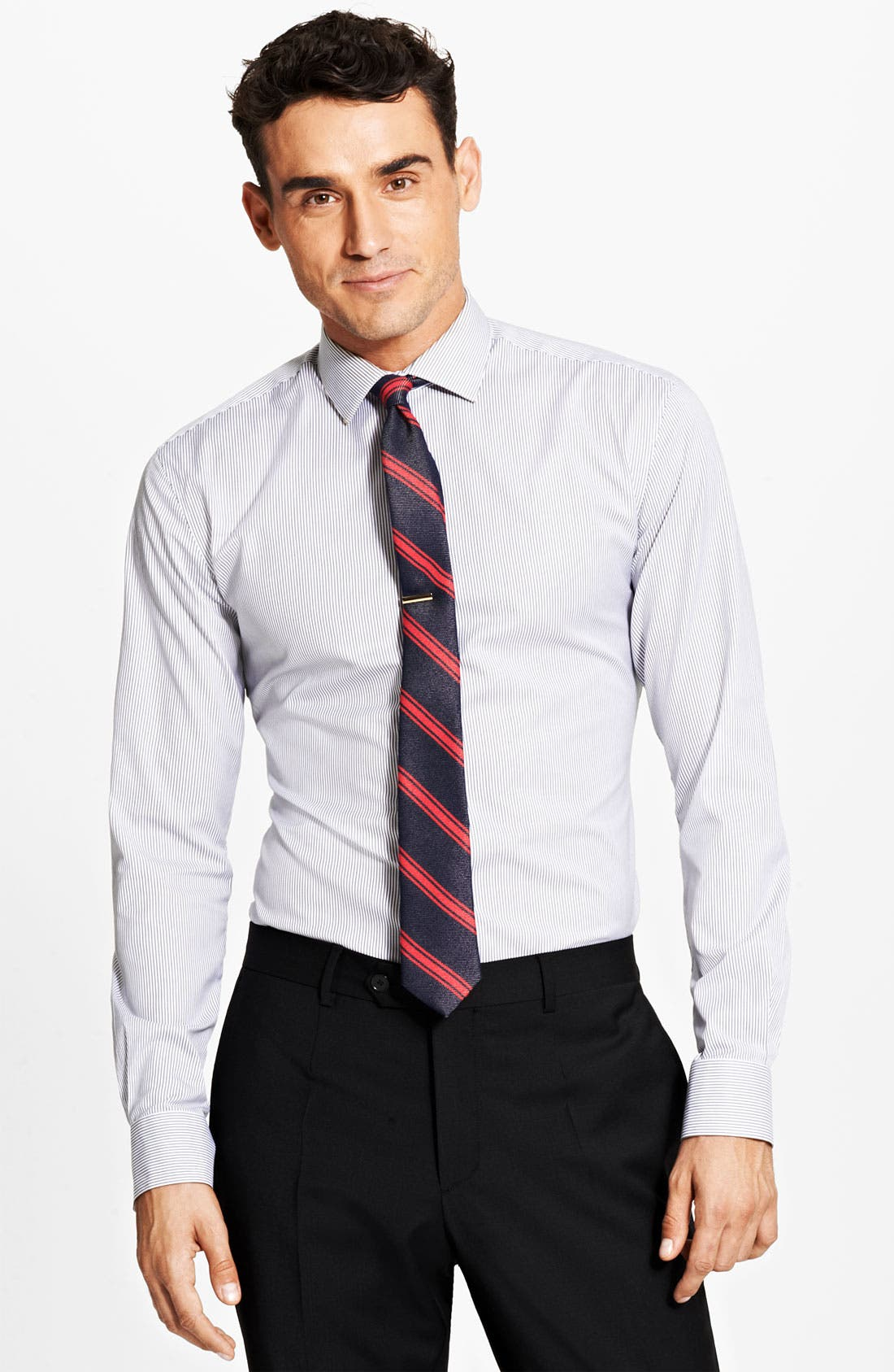 Trim Fit Stripe Dress Shirt,                         Main,                         color, Black Ink