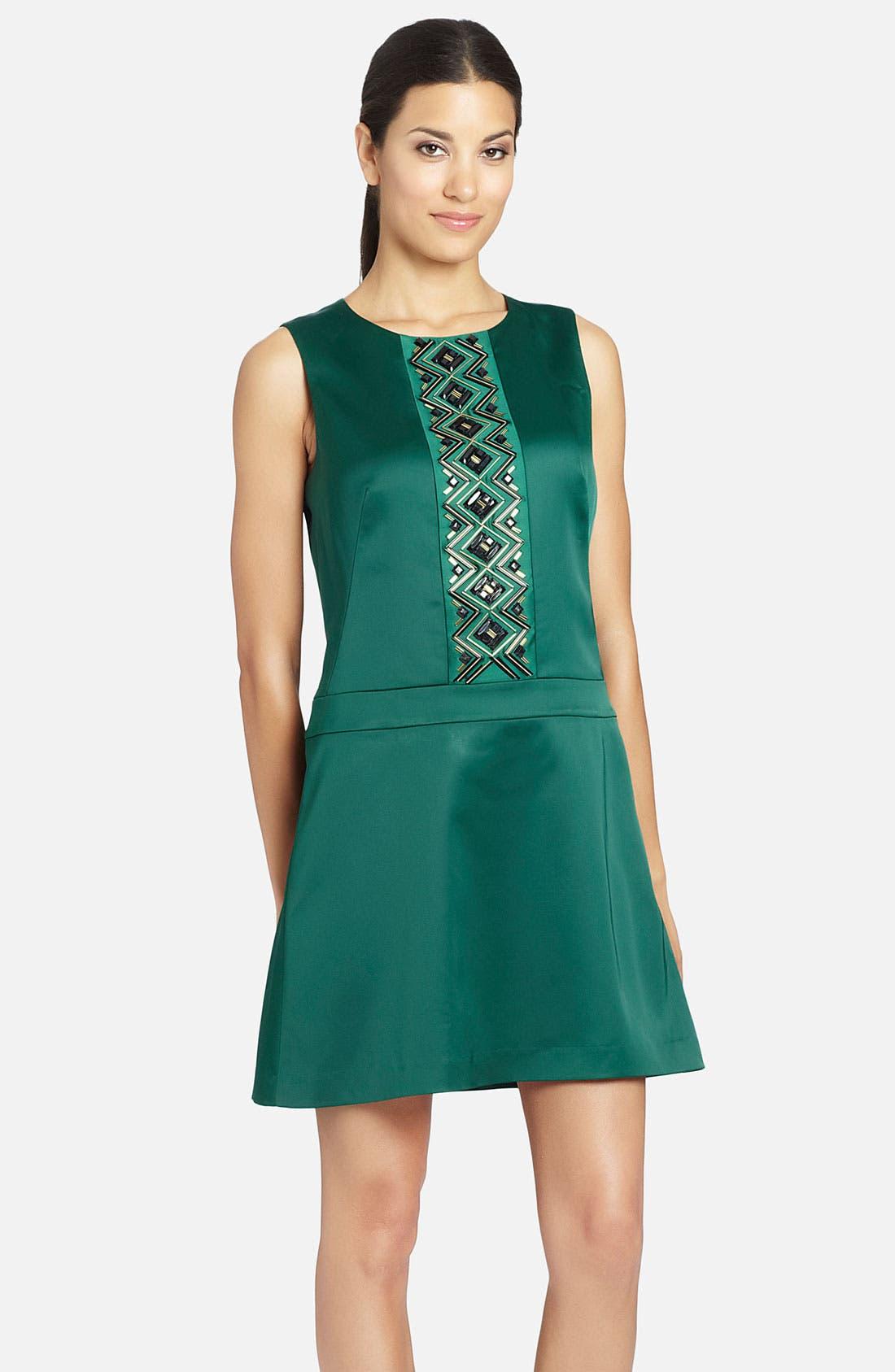 Alternate Image 1 Selected - Cynthia Steffe 'Ava' Art Deco Pattern Satin Dress
