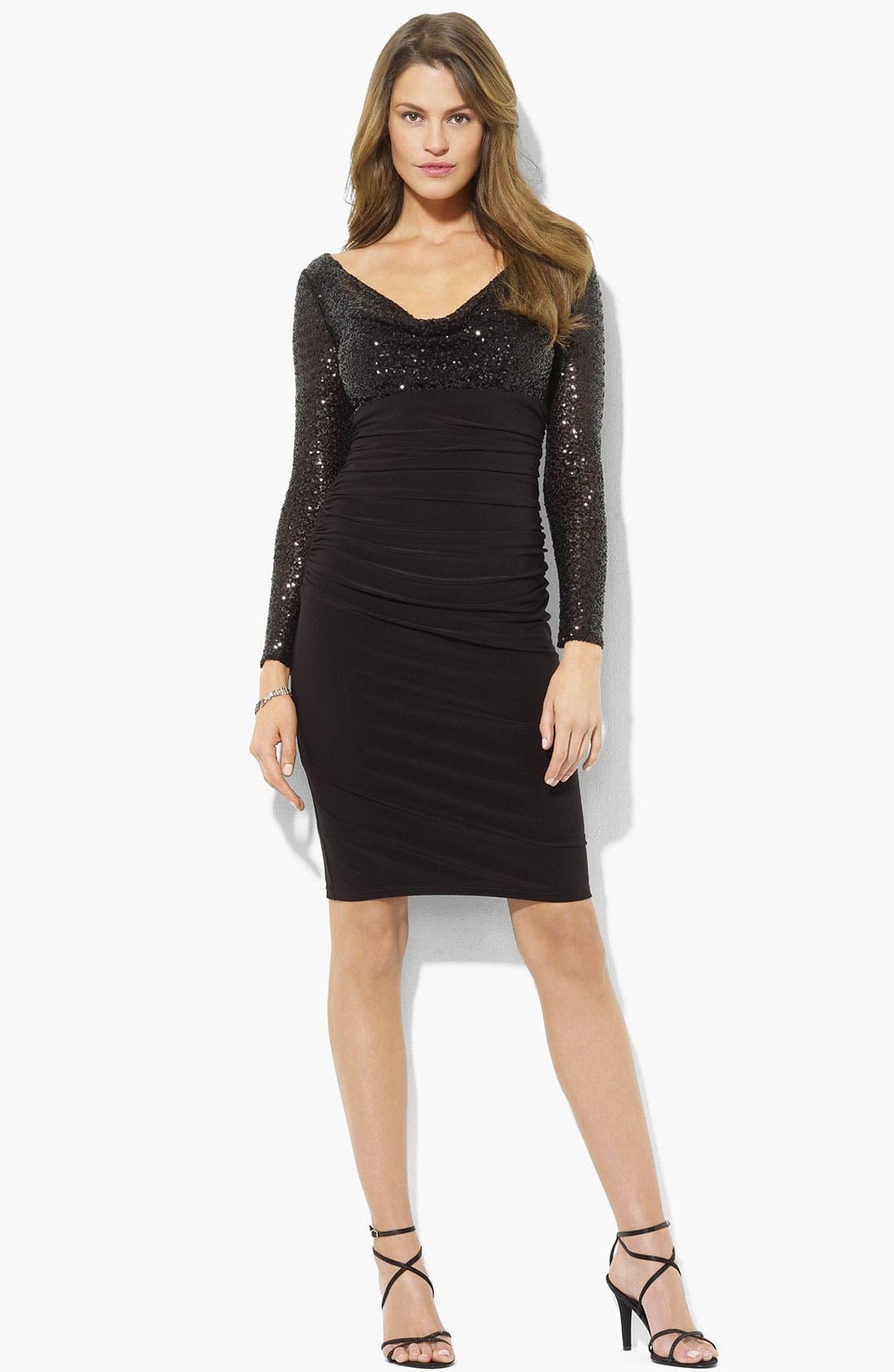 Main Image - Lauren Ralph Lauren Sequin Bodice Ruched Jersey Dress (Petite)