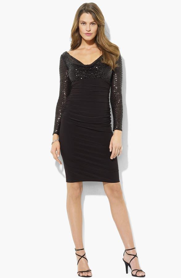 Lauren Ralph Lauren Sequin Bodice Ruched Jersey Dress (Petite ...
