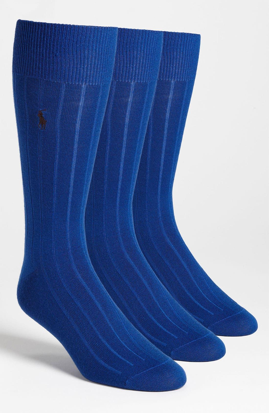 Alternate Image 1 Selected - Polo Ralph Lauren 'Basic' Ribbed Socks (3-Pack)