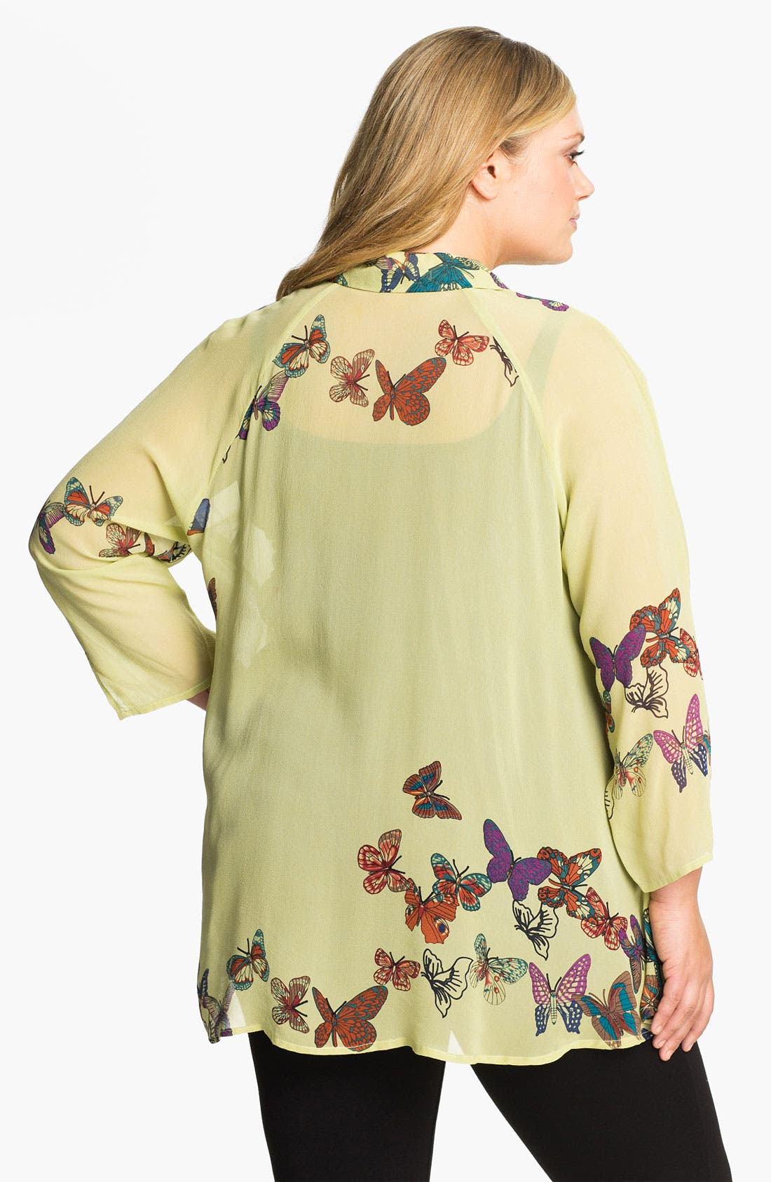 Alternate Image 2  - Citron Butterfly Print Silk Jacket (Plus)