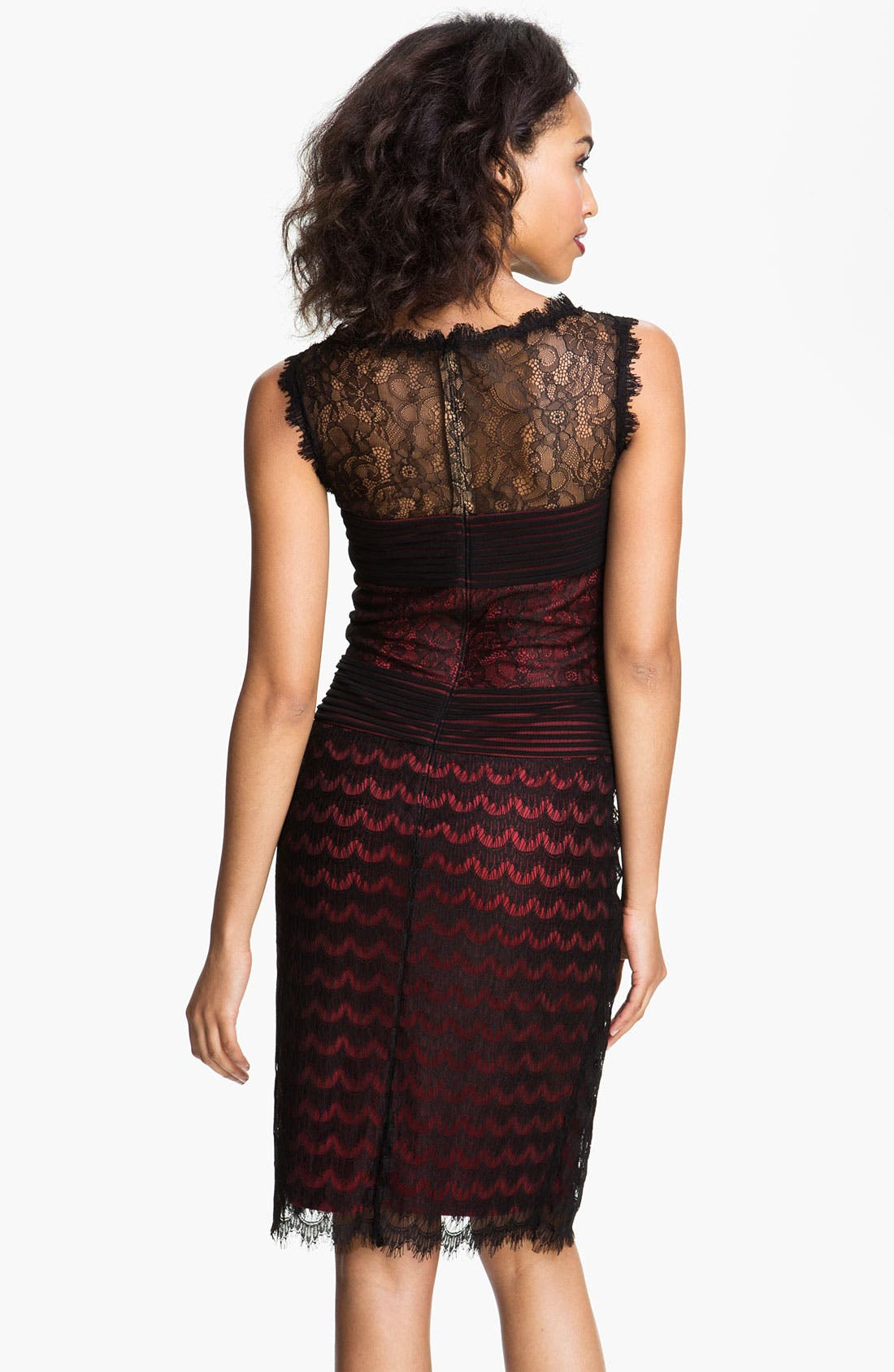 Alternate Image 2  - Tadashi Shoji Illusion Yoke Scalloped Lace Overlay Dress