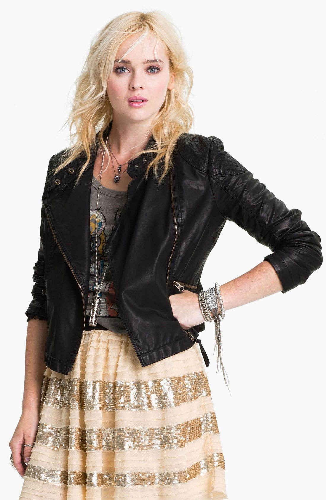 Main Image - Free People 'Sunburst' Faux Leather Moto Jacket