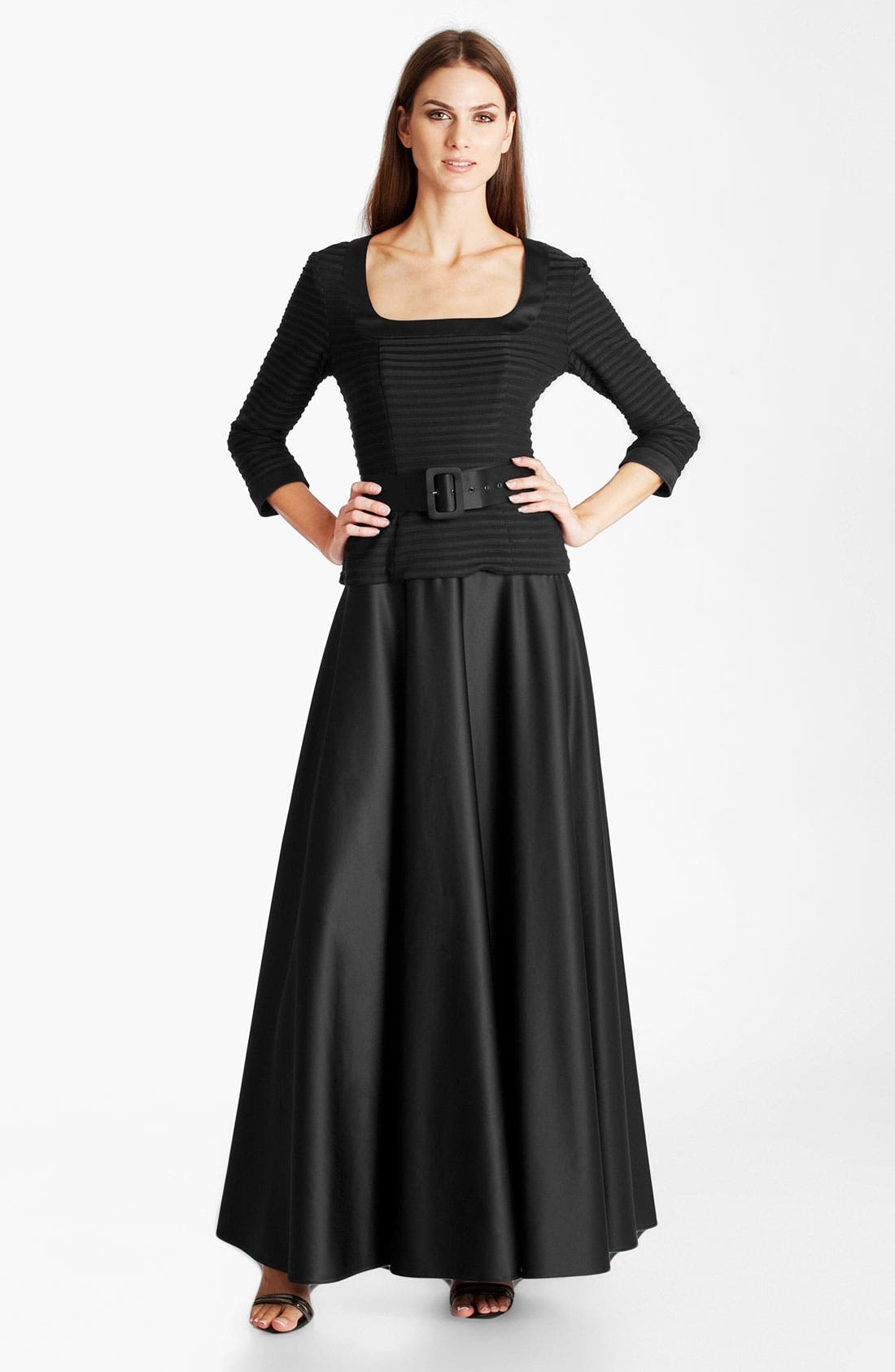 Main Image - JS Collections Shutter Pleat Satin Gown