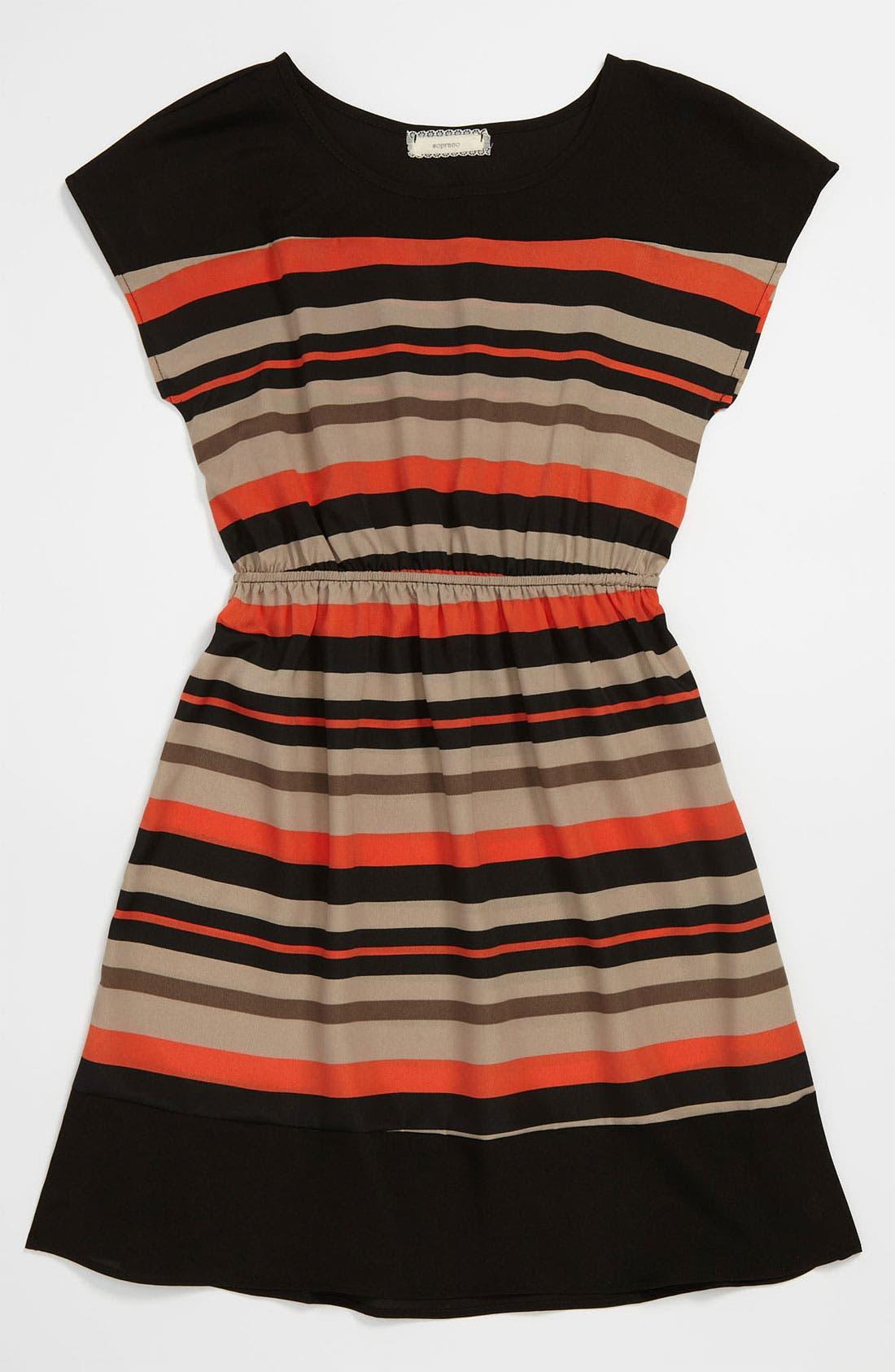 Alternate Image 1 Selected - Soprano Stripe Dress (Big Girls)