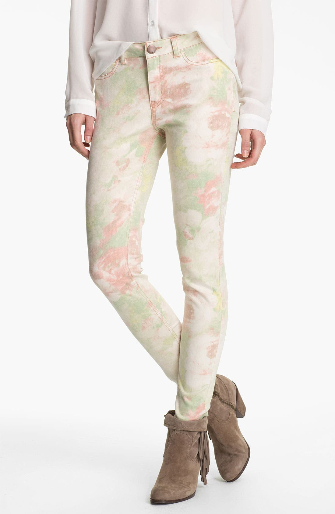 Alternate Image 2  - Fire Photo Floral Print Skinny Jeans (Juniors)