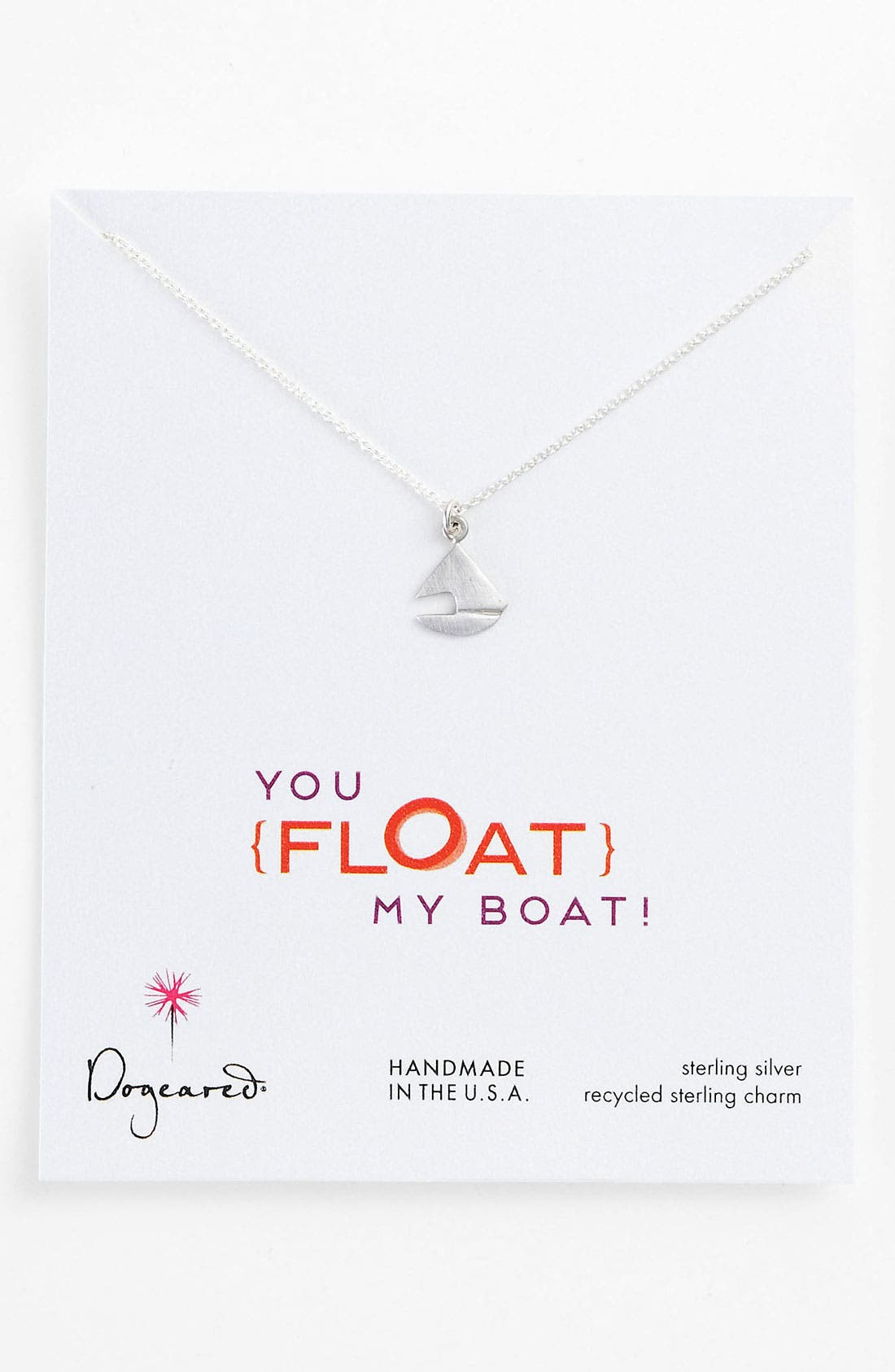 Alternate Image 1 Selected - Dogeared 'You Float My Boat' Sailboat Pendant Necklace