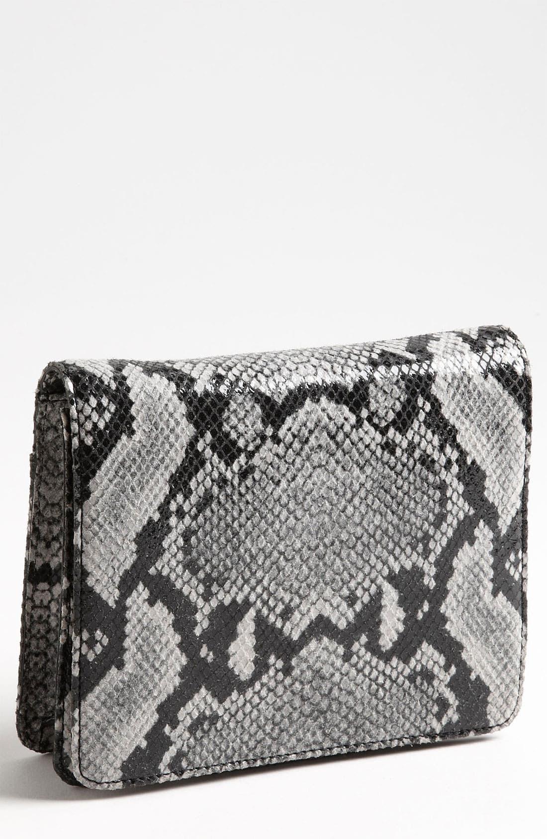 Main Image - Halogen® Snake Print Leather Clutch