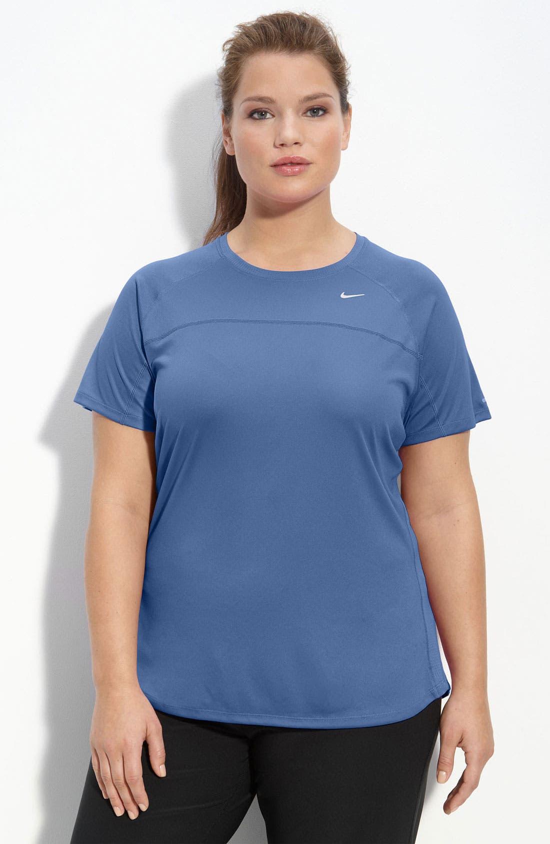 Alternate Image 1 Selected - Nike 'Miler' Short Sleeve Tee (Plus)